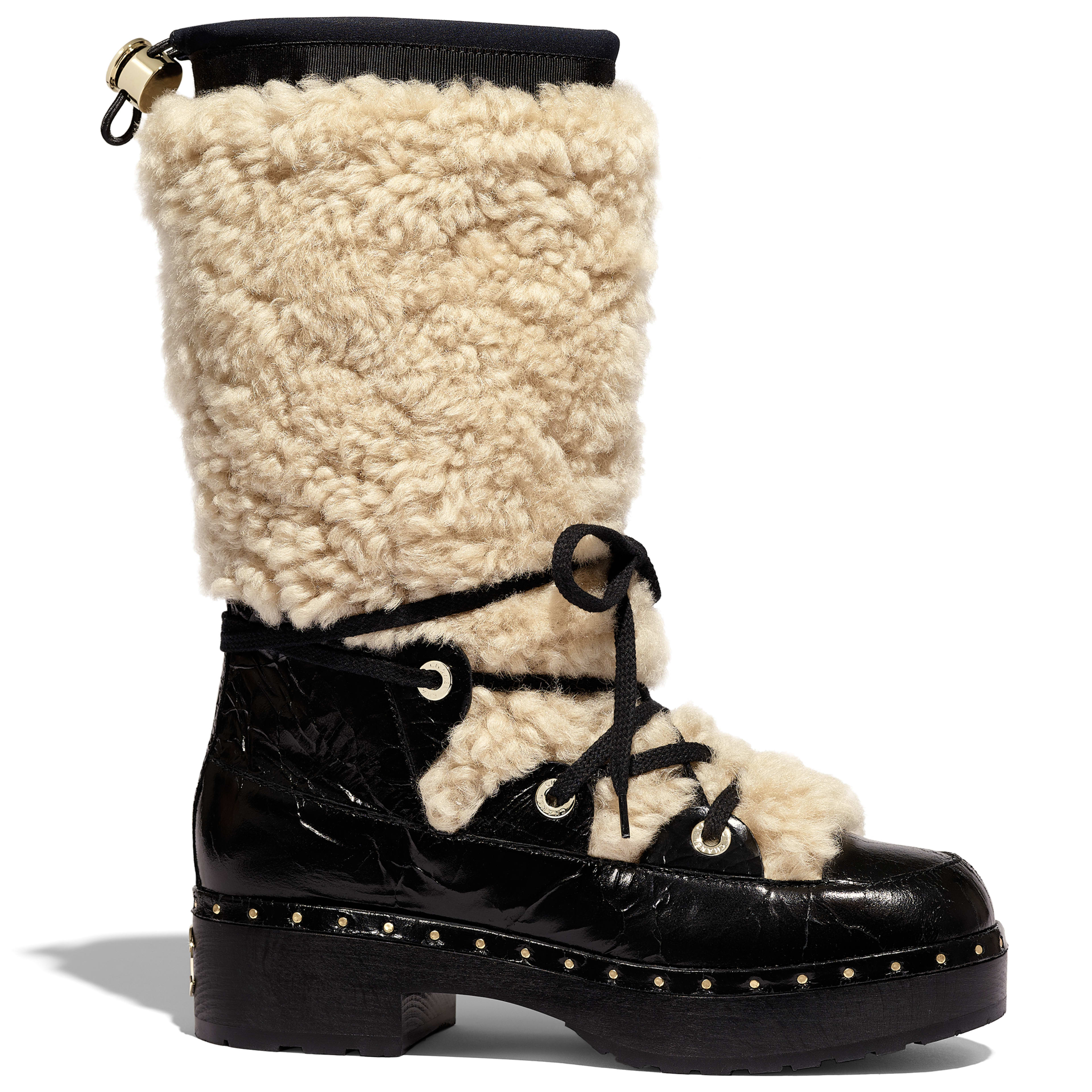 High Boots - Beige & Black - Shearling & Crackled Sheepskin - Default view - see full sized version