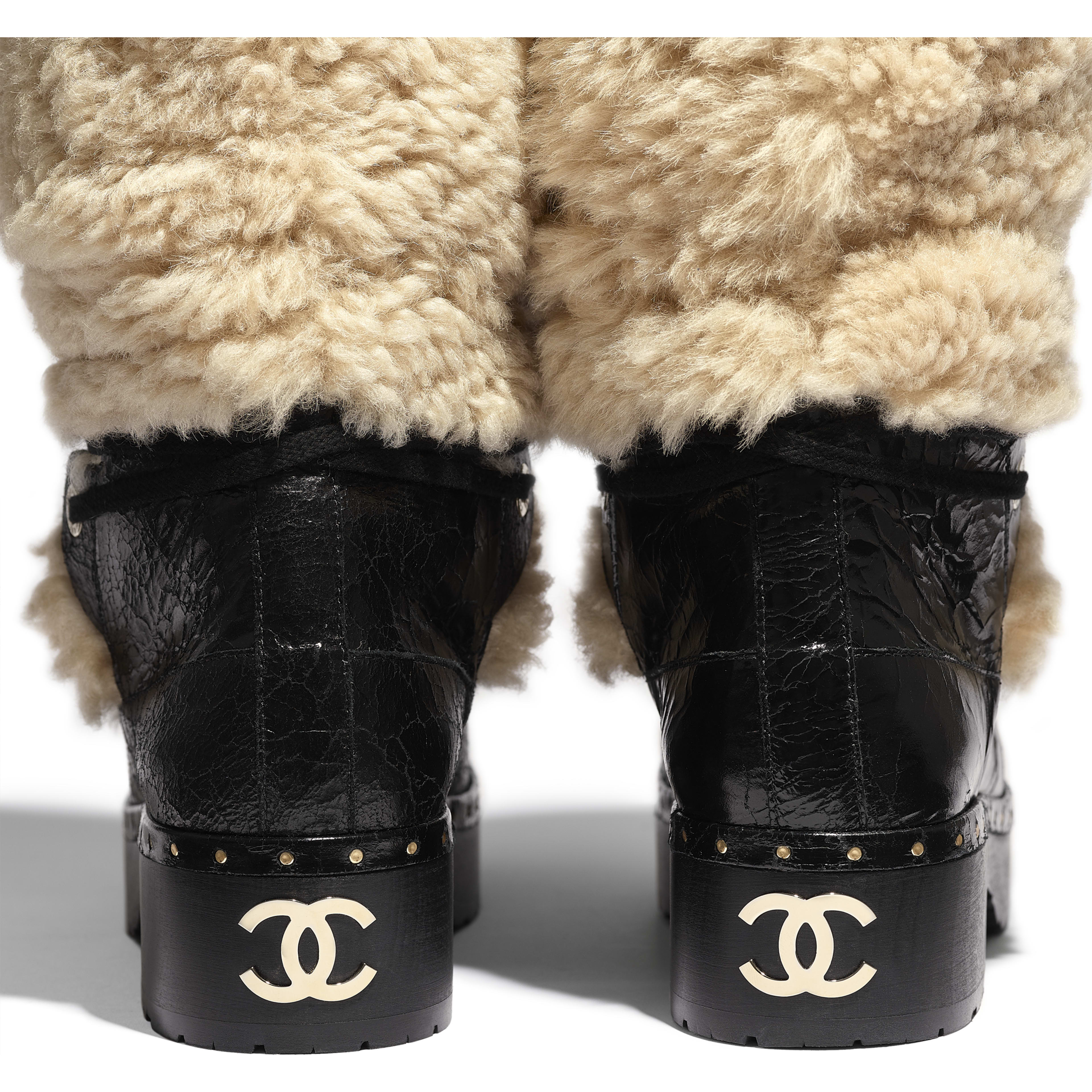High Boots - Beige & Black - Shearling & Crackled Sheepskin - Extra view - see full sized version