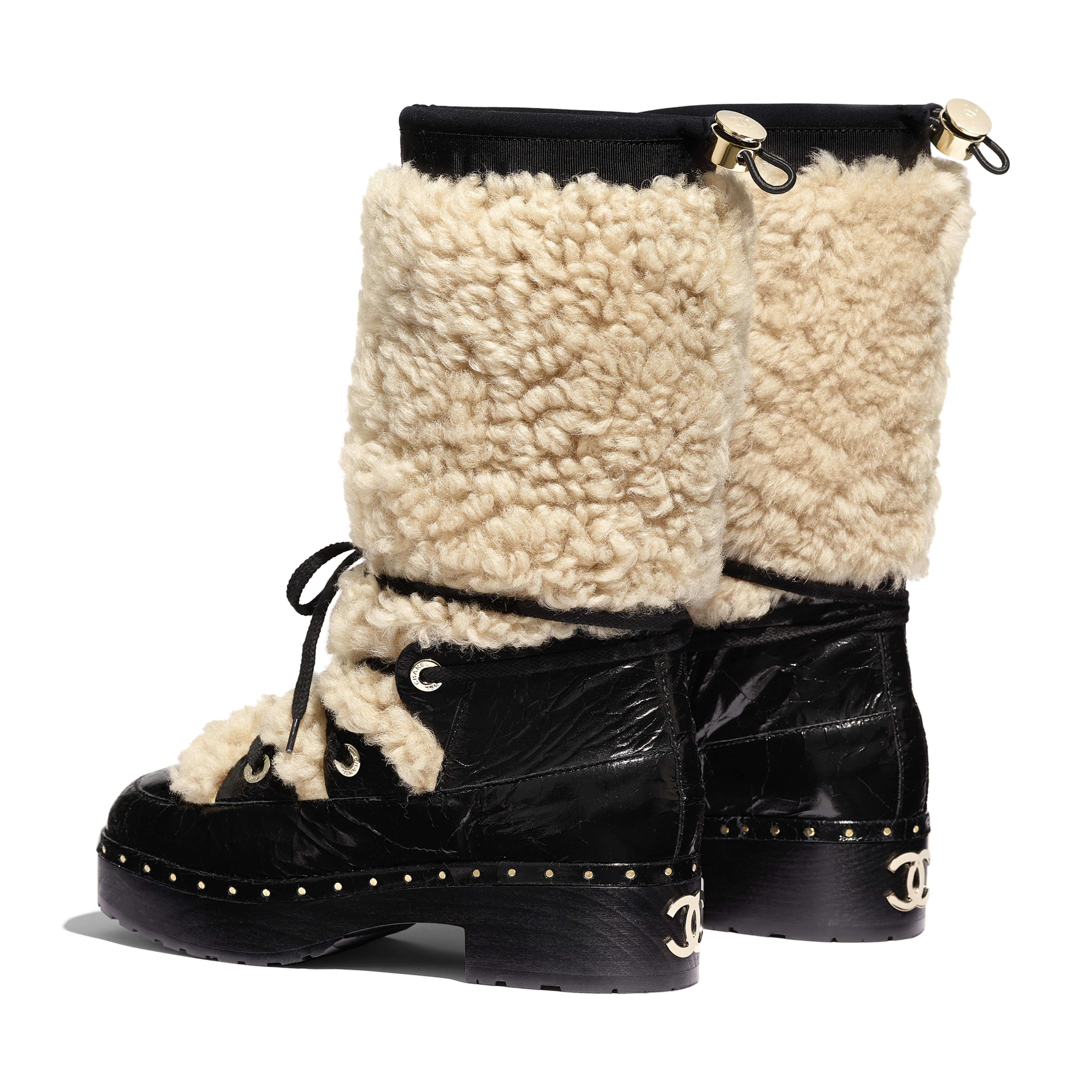 High Boots - Beige & Black - Shearling & Crackled Sheepskin - Other view - see full sized version