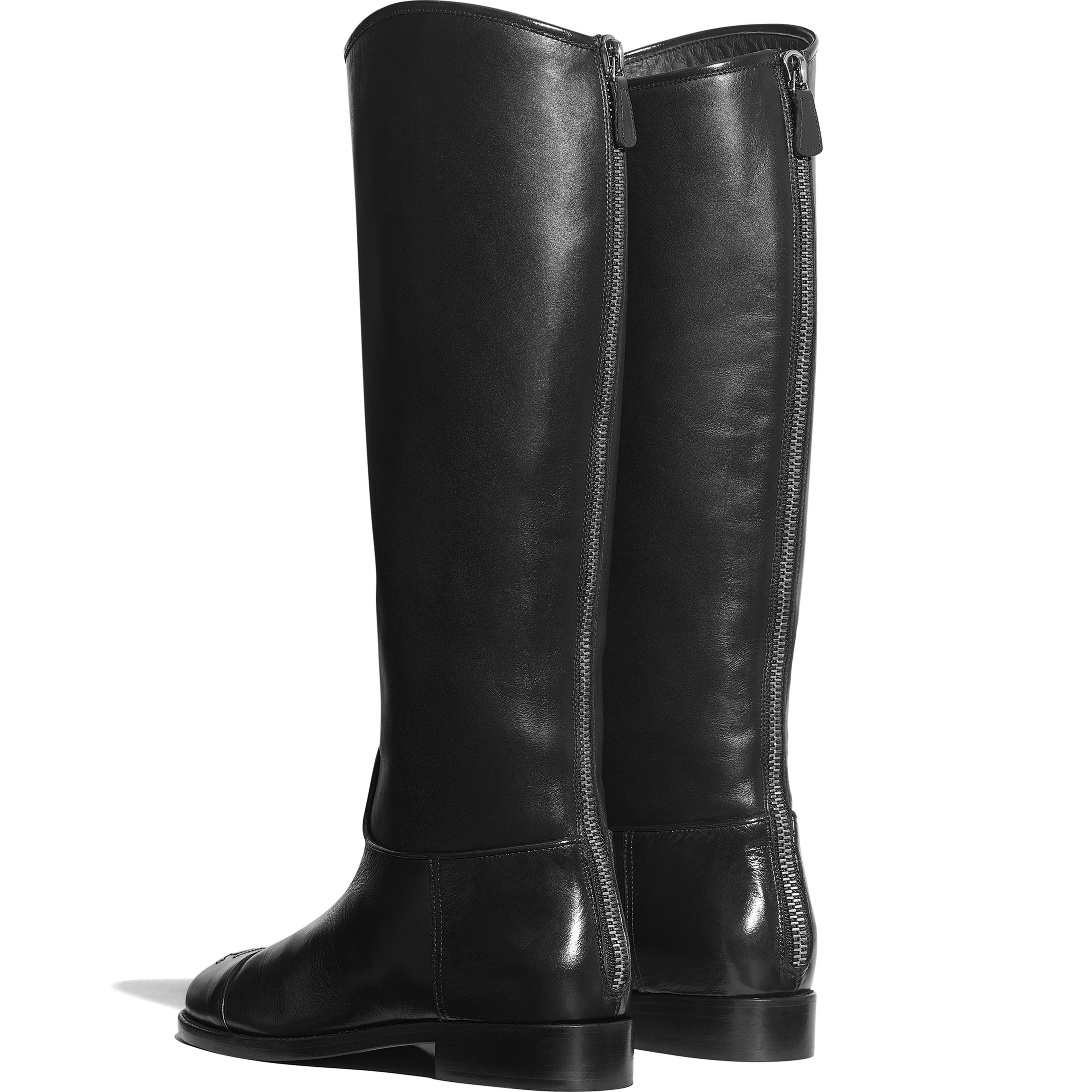 buy online 7a11a de068 Calfskin Black High Boots   CHANEL