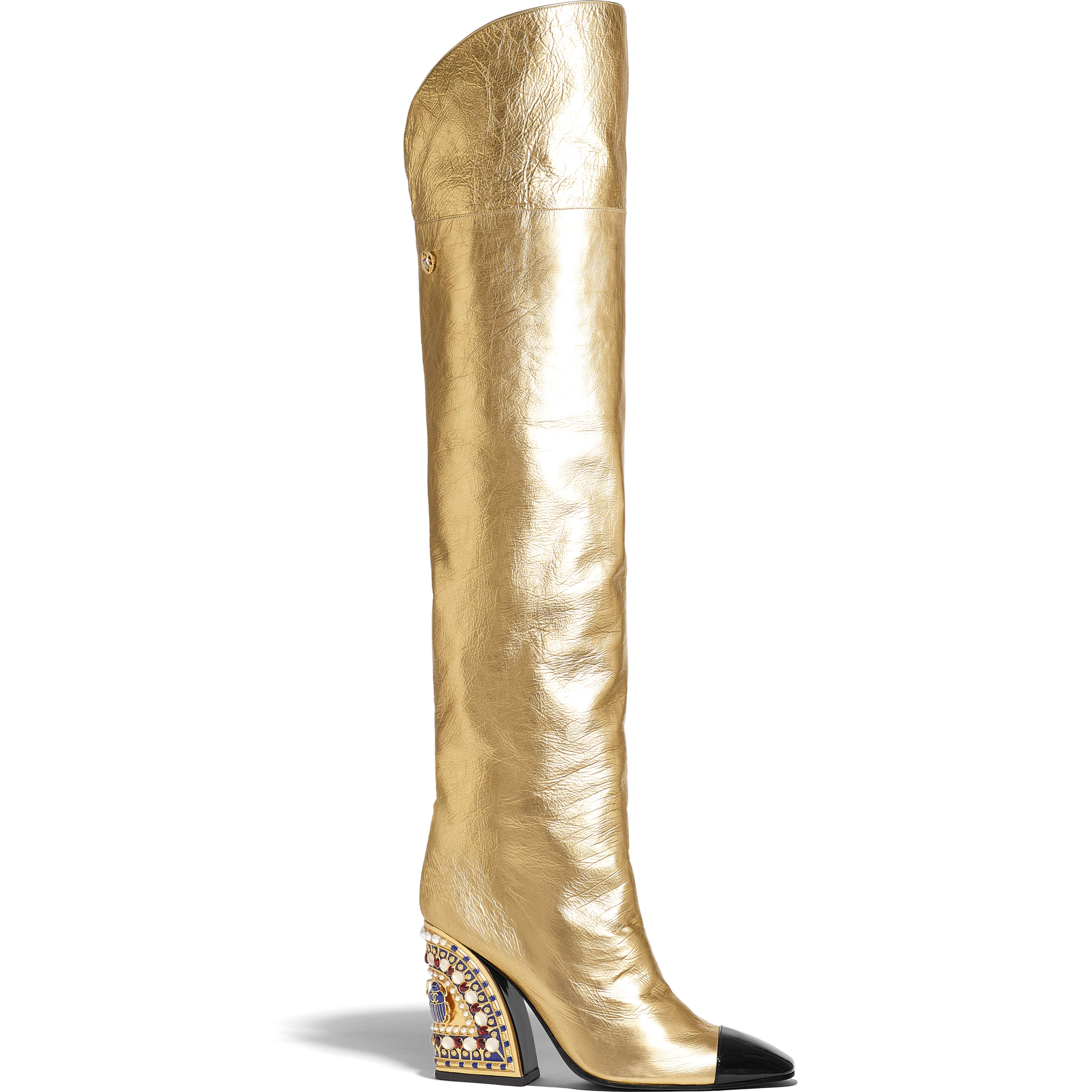 High Boots - Gold & Black - Laminated Lambskin & Patent Calfskin - Default view - see full sized version