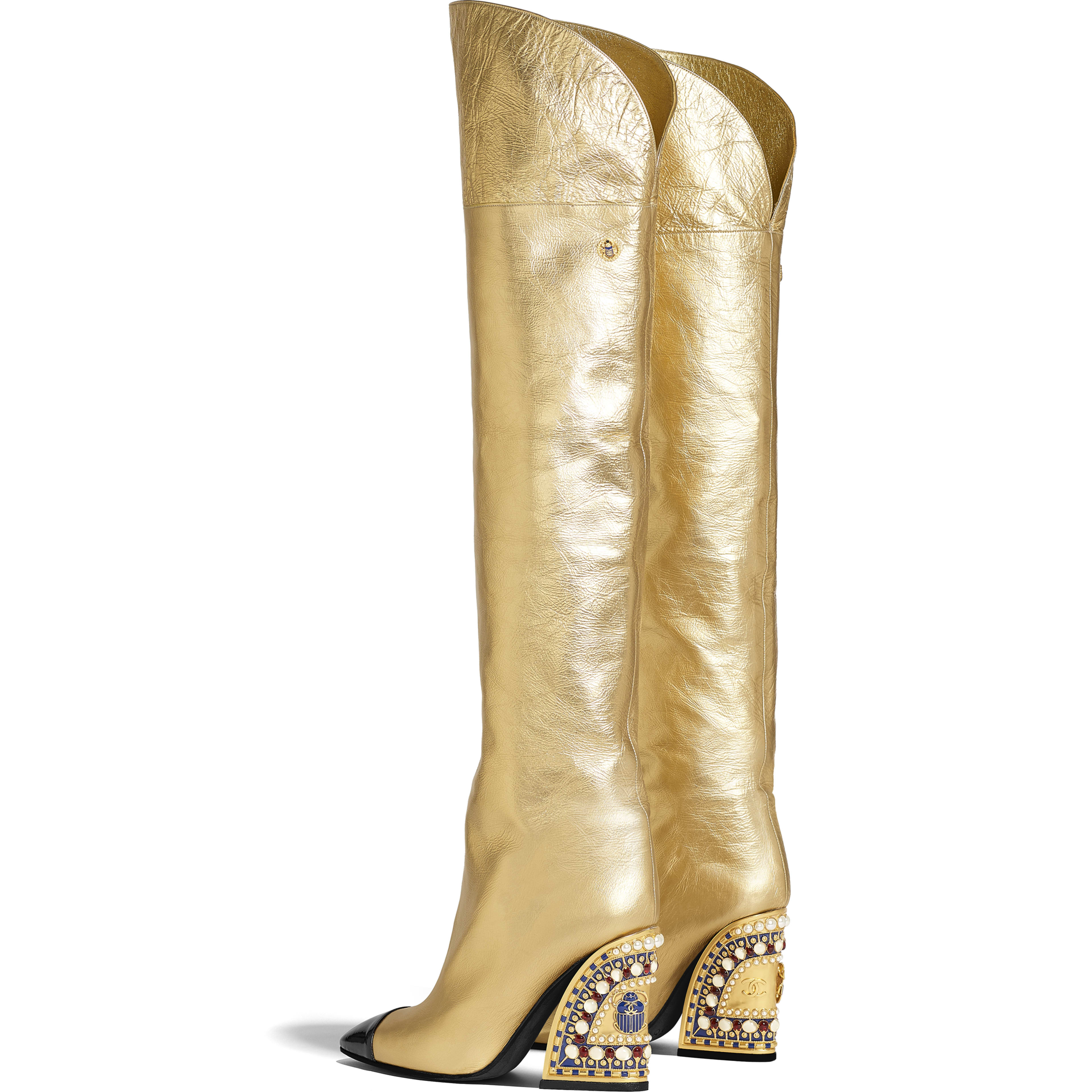 High Boots - Gold & Black - Laminated Lambskin & Patent Calfskin - Other view - see full sized version