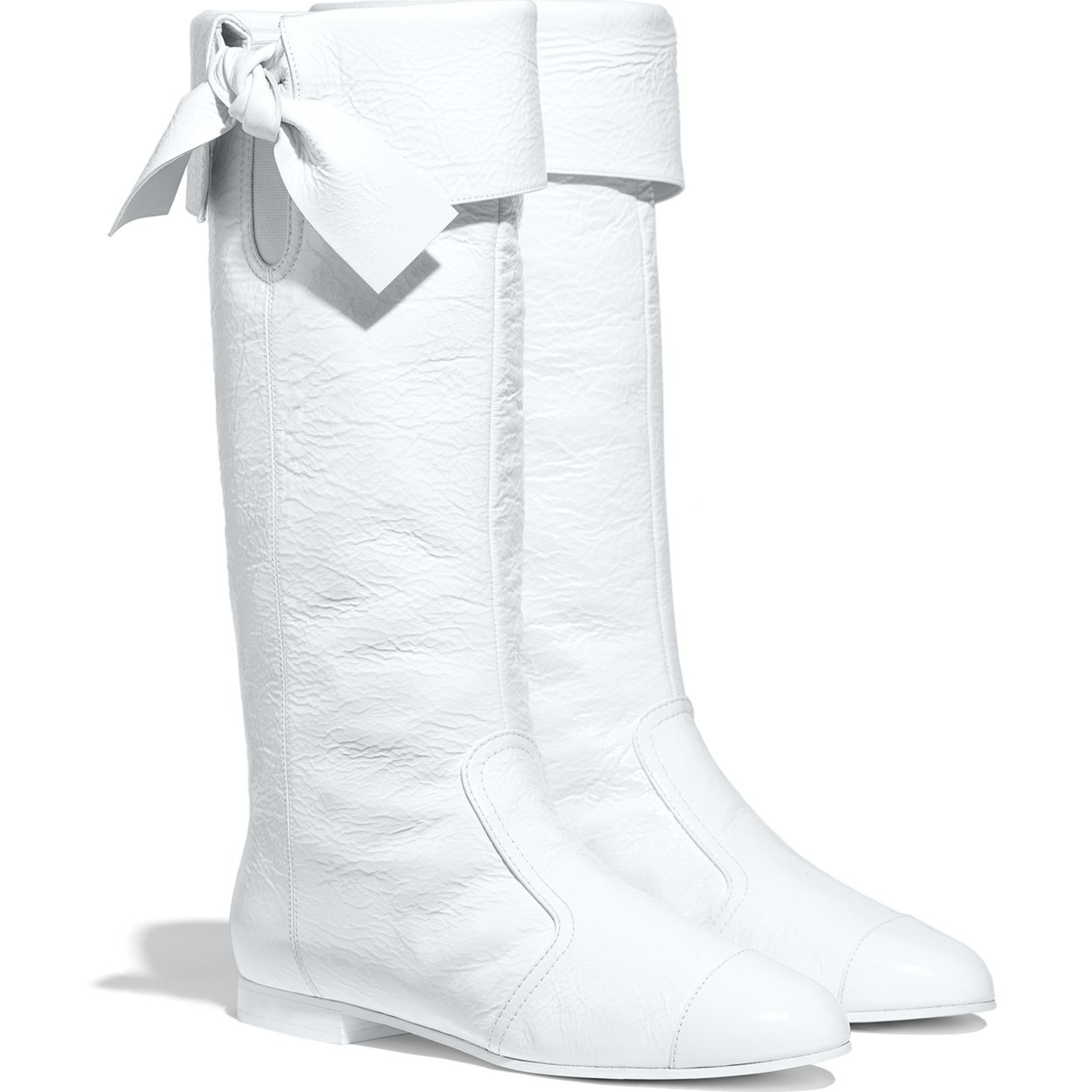 High Boots - White - Crumpled Lambskin - Alternative view - see full sized version