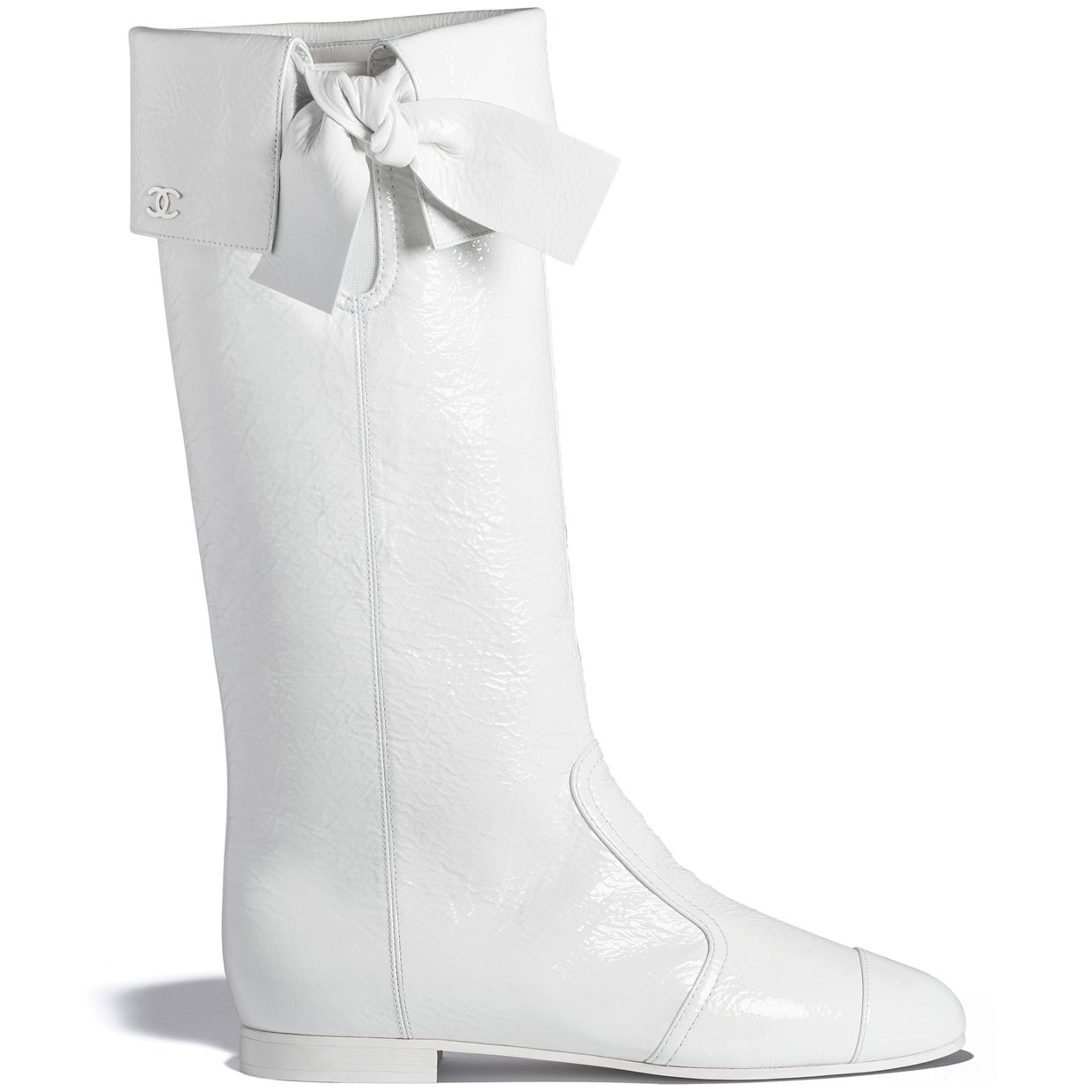 High Boots - White - Crumpled Lambskin - Default view - see full sized version