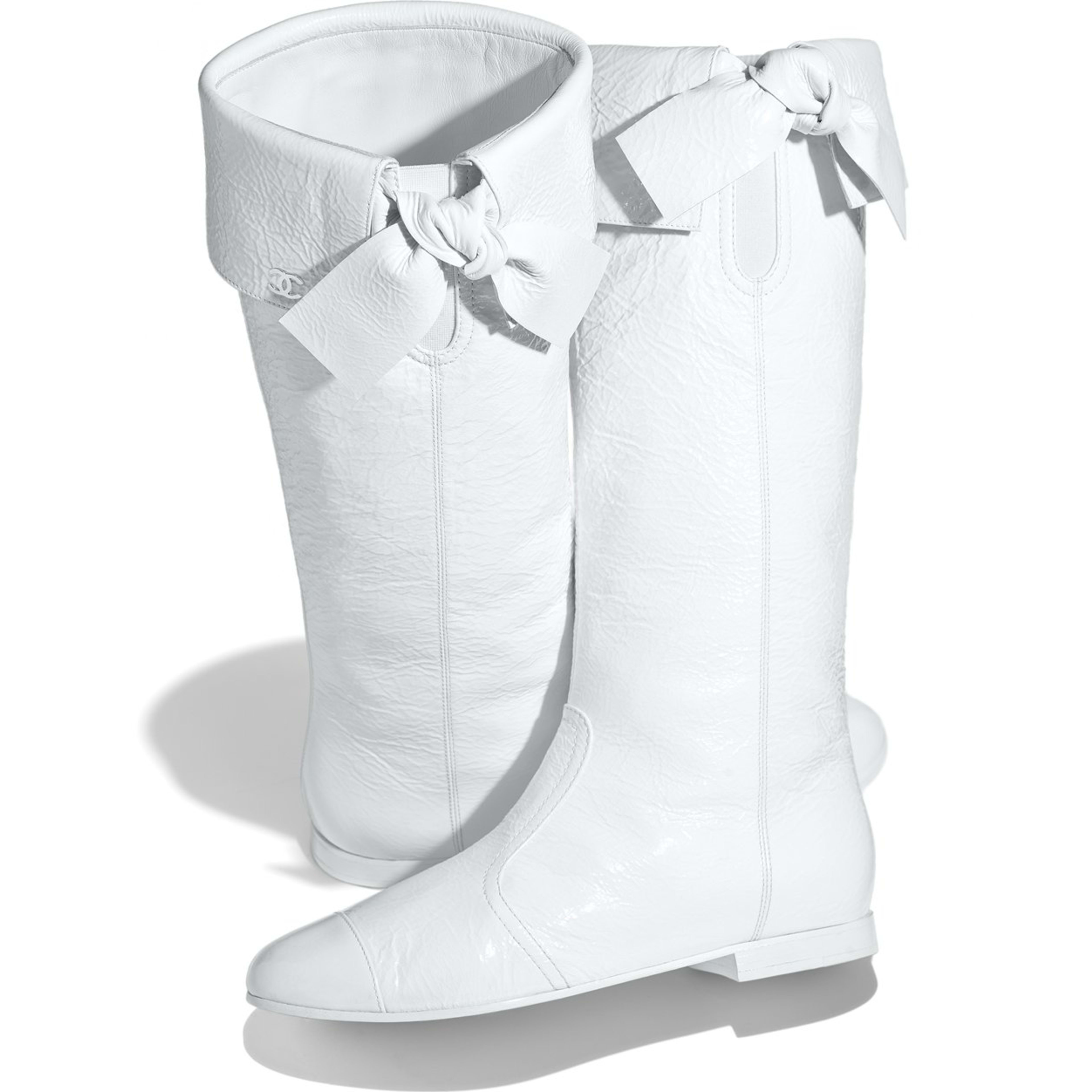 High Boots - White - Crumpled Lambskin - Extra view - see full sized version