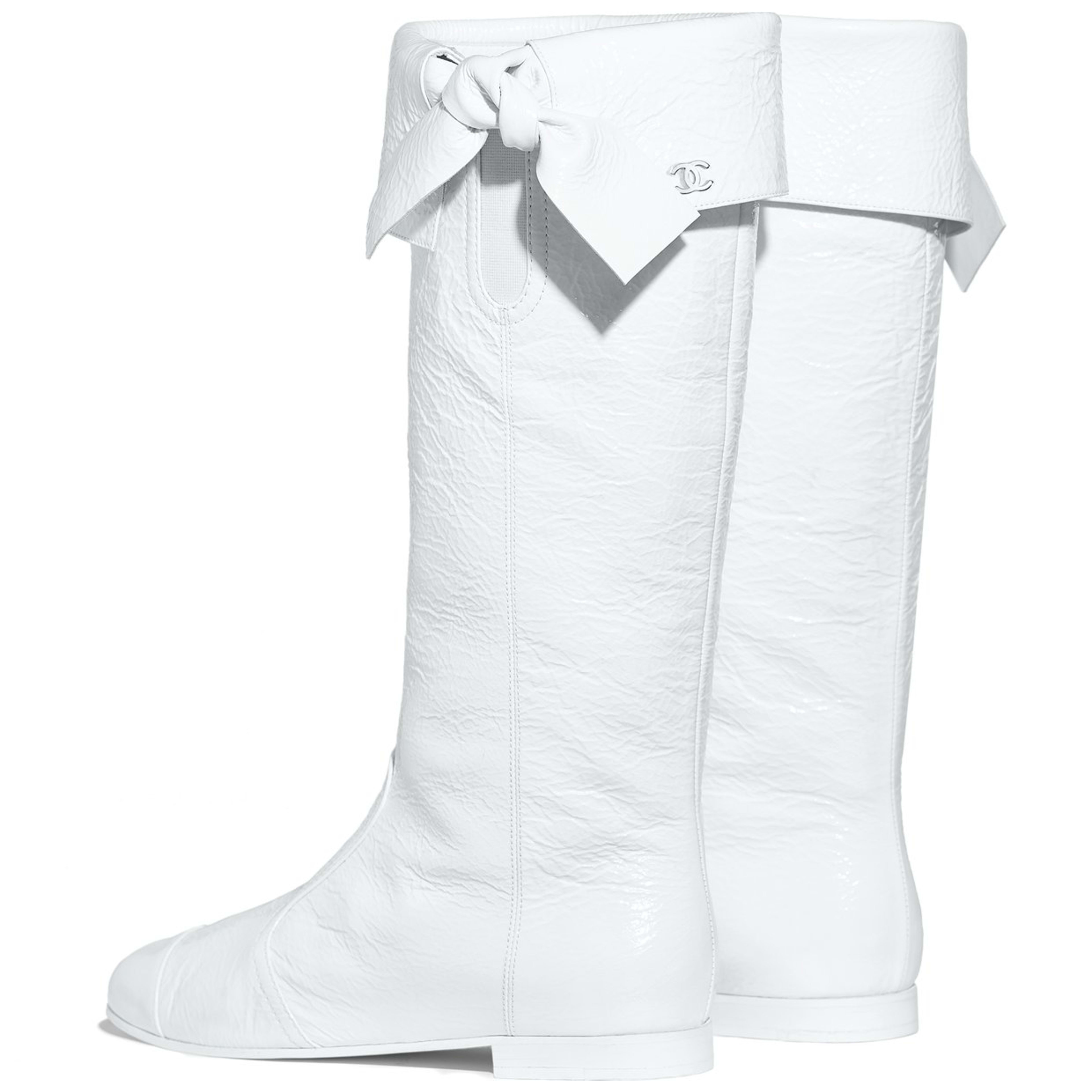 High Boots - White - Crumpled Lambskin - Other view - see full sized version