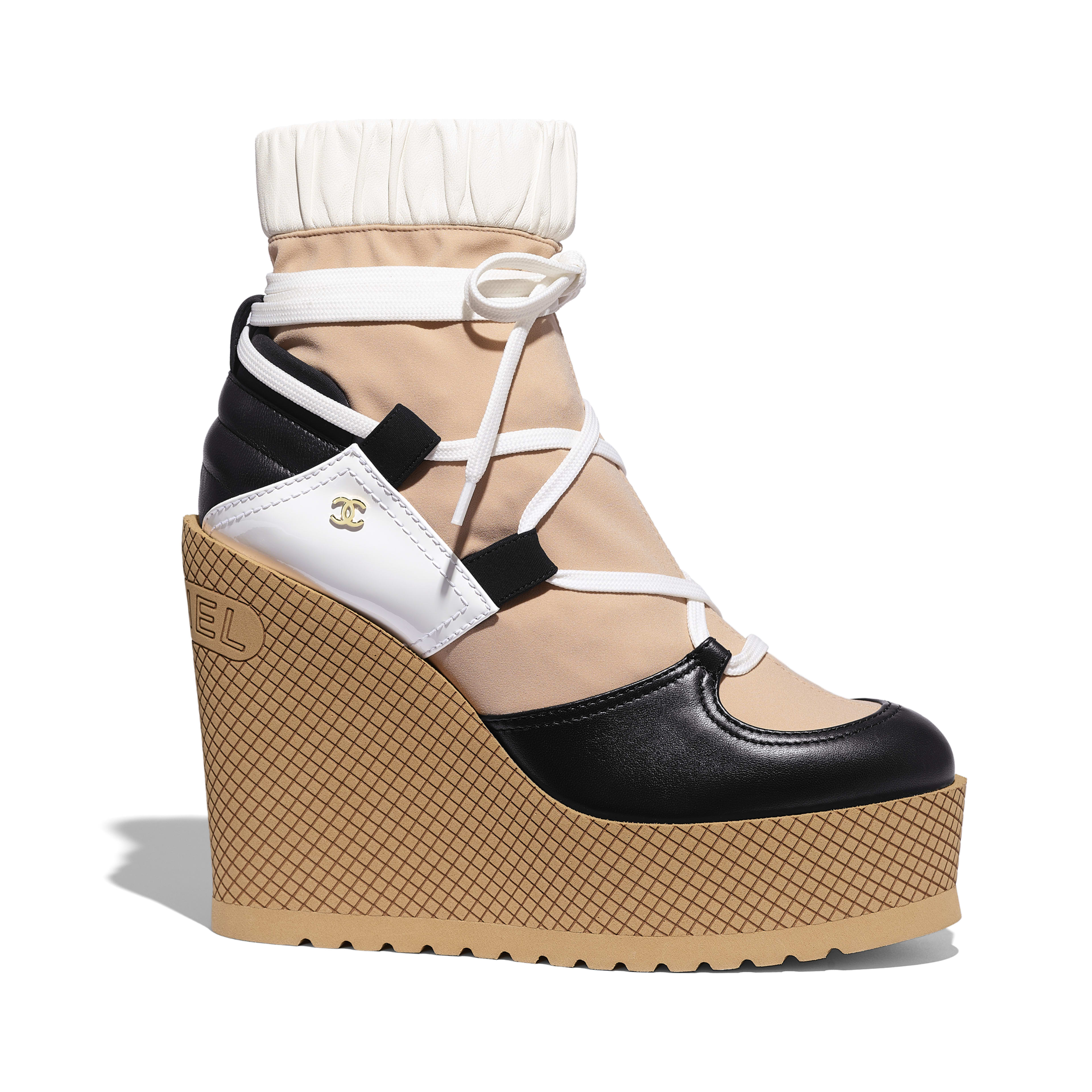 Lace-Ups - Beige, Black & White - Mixed Fibers, Lambskin & Calfskin - Default view - see full sized version