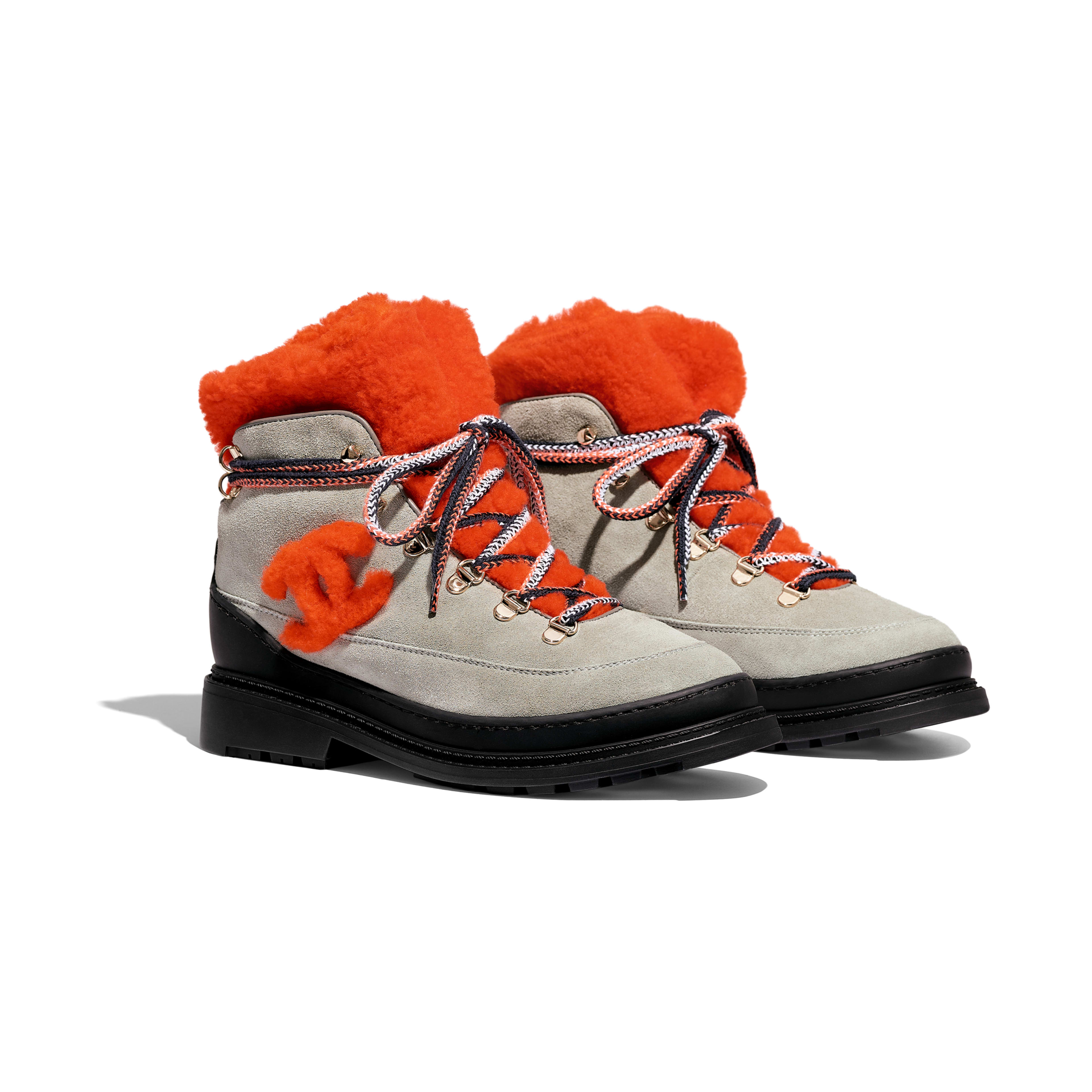 Lace-Ups - Gray & Orange - Suede Calfskin & Shearling - Alternative view - see full sized version