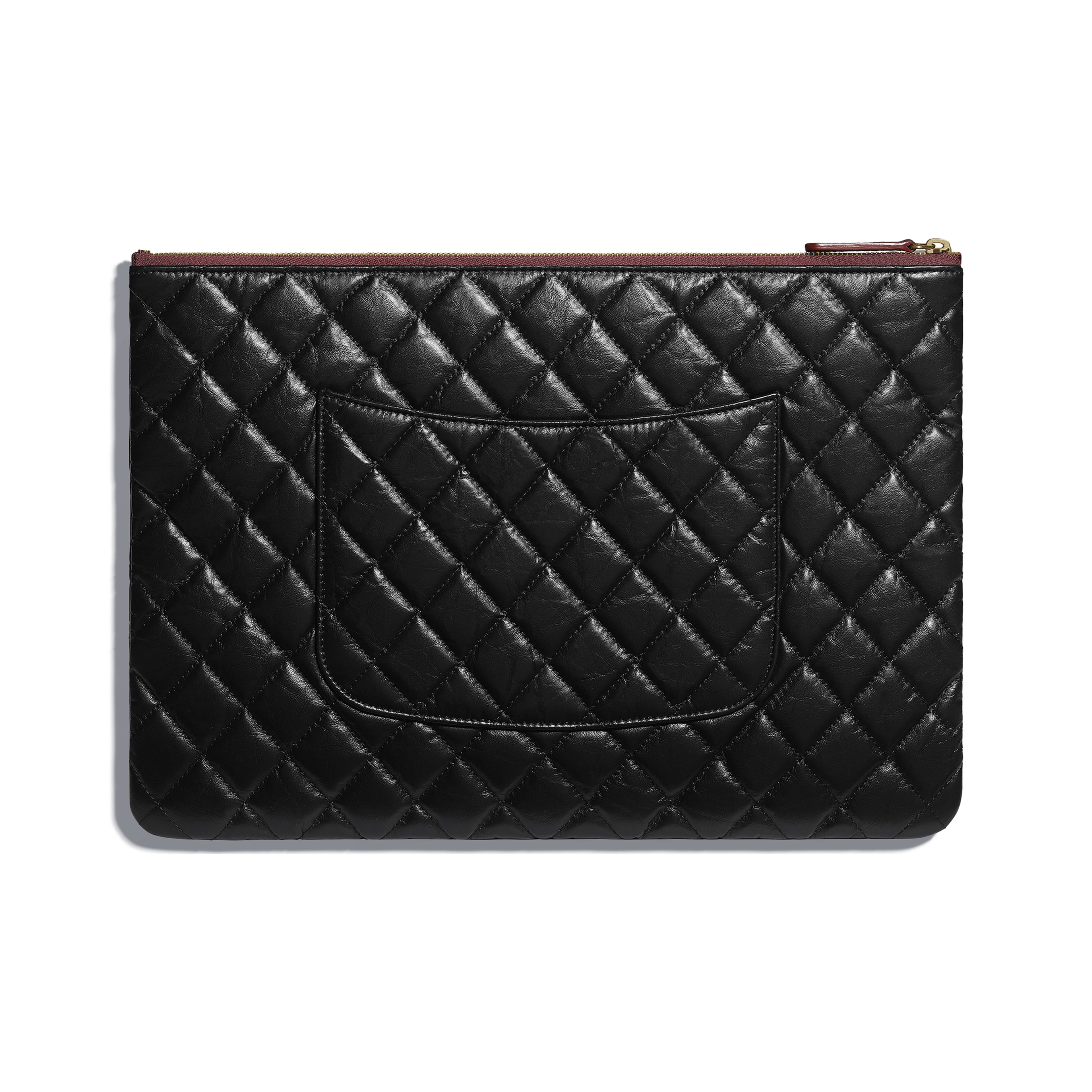 Large 2.55 Pouch - Black - Aged Calfskin & Gold-Tone Metal - Alternative view - see full sized version