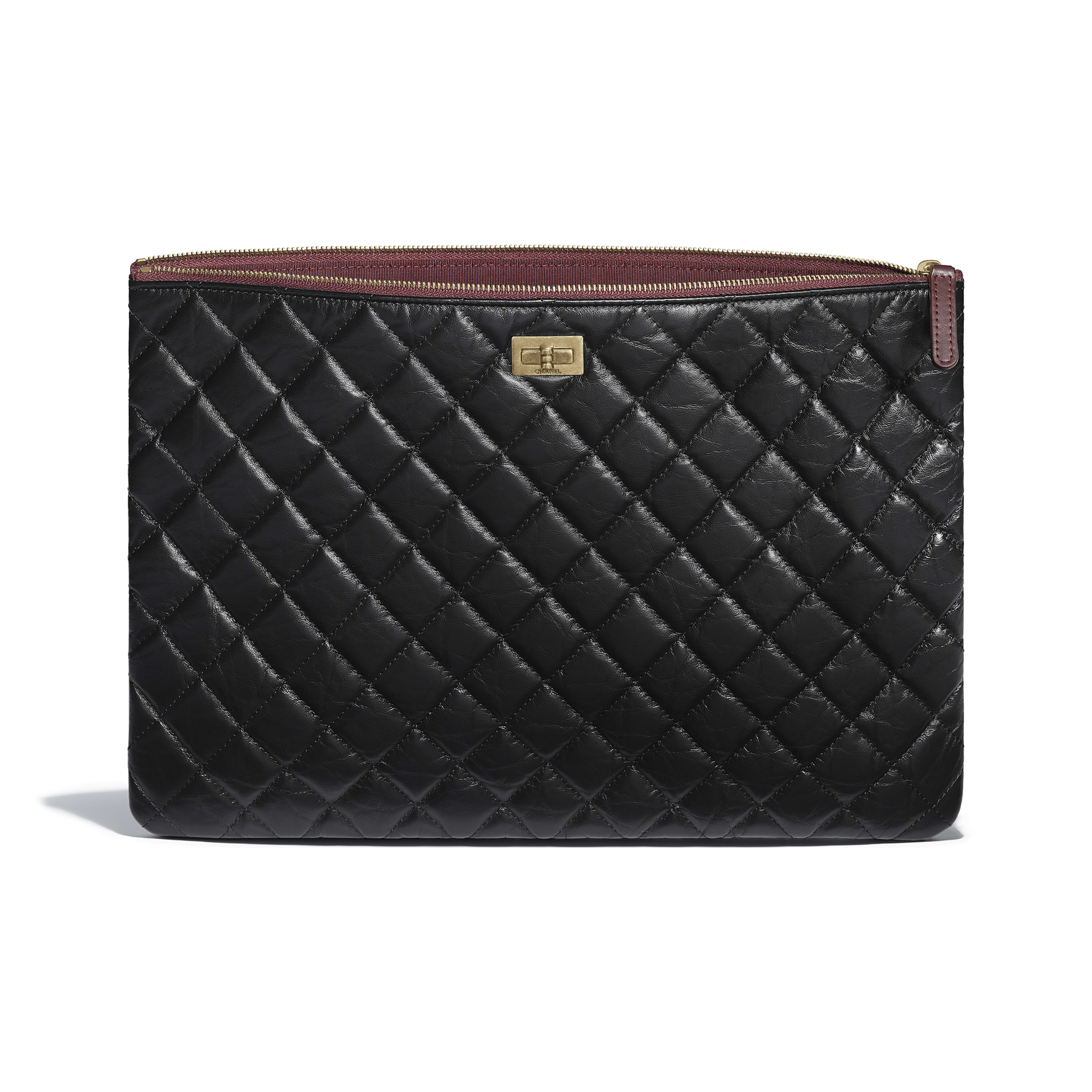 Large 2.55 Pouch - Black - Aged Calfskin & Gold-Tone Metal - Other view - see full sized version