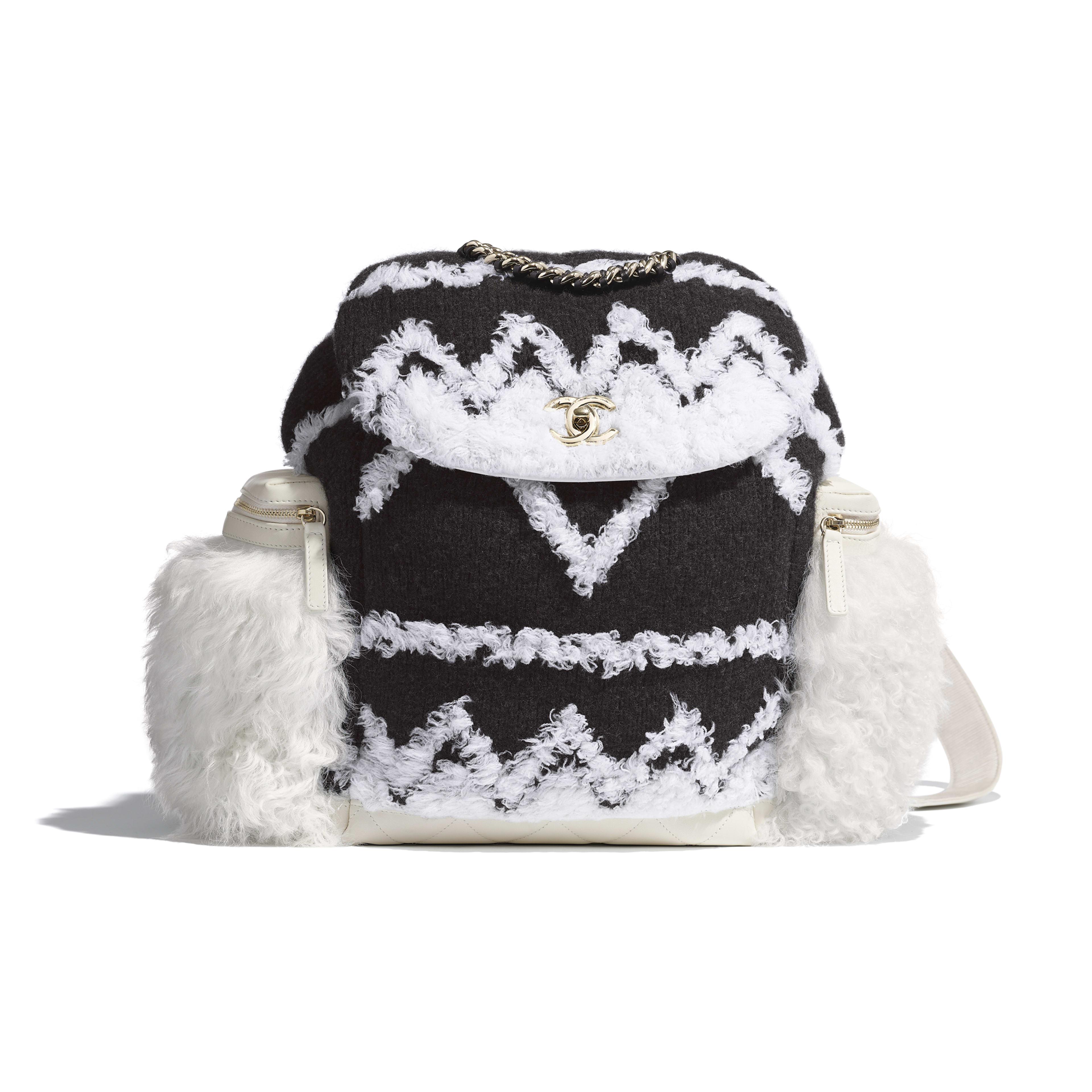 Рюкзак большого размера - Белый и черный - Шерсть, овчина и золотистый металл - Вид по умолчанию - посмотреть полноразмерное изображение