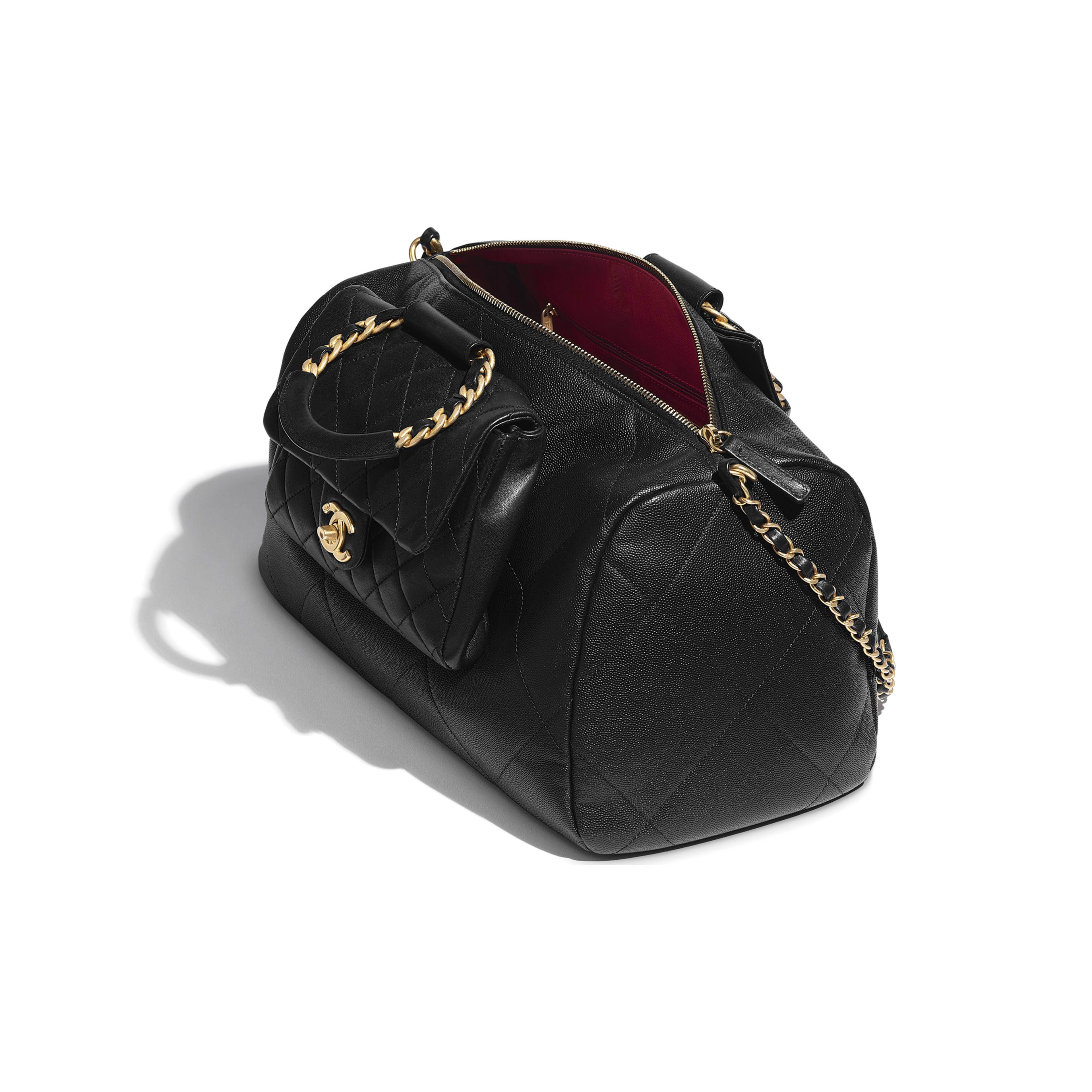 Grained Calfskin Lambskin Gold Metal Black Large Bowling Bag Chanel