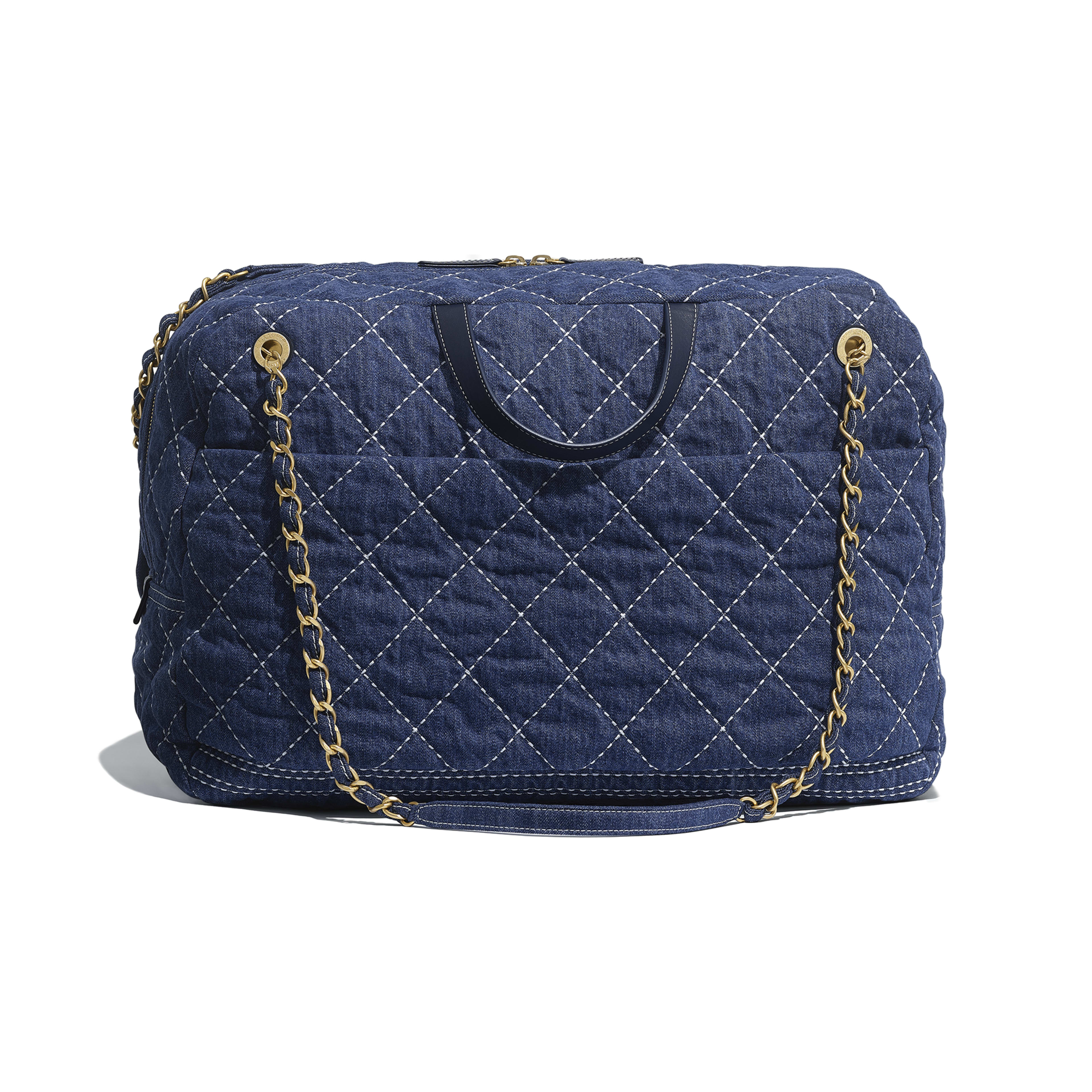 Denim Gold Tone Metal Blue Large Bowling Bag Chanel