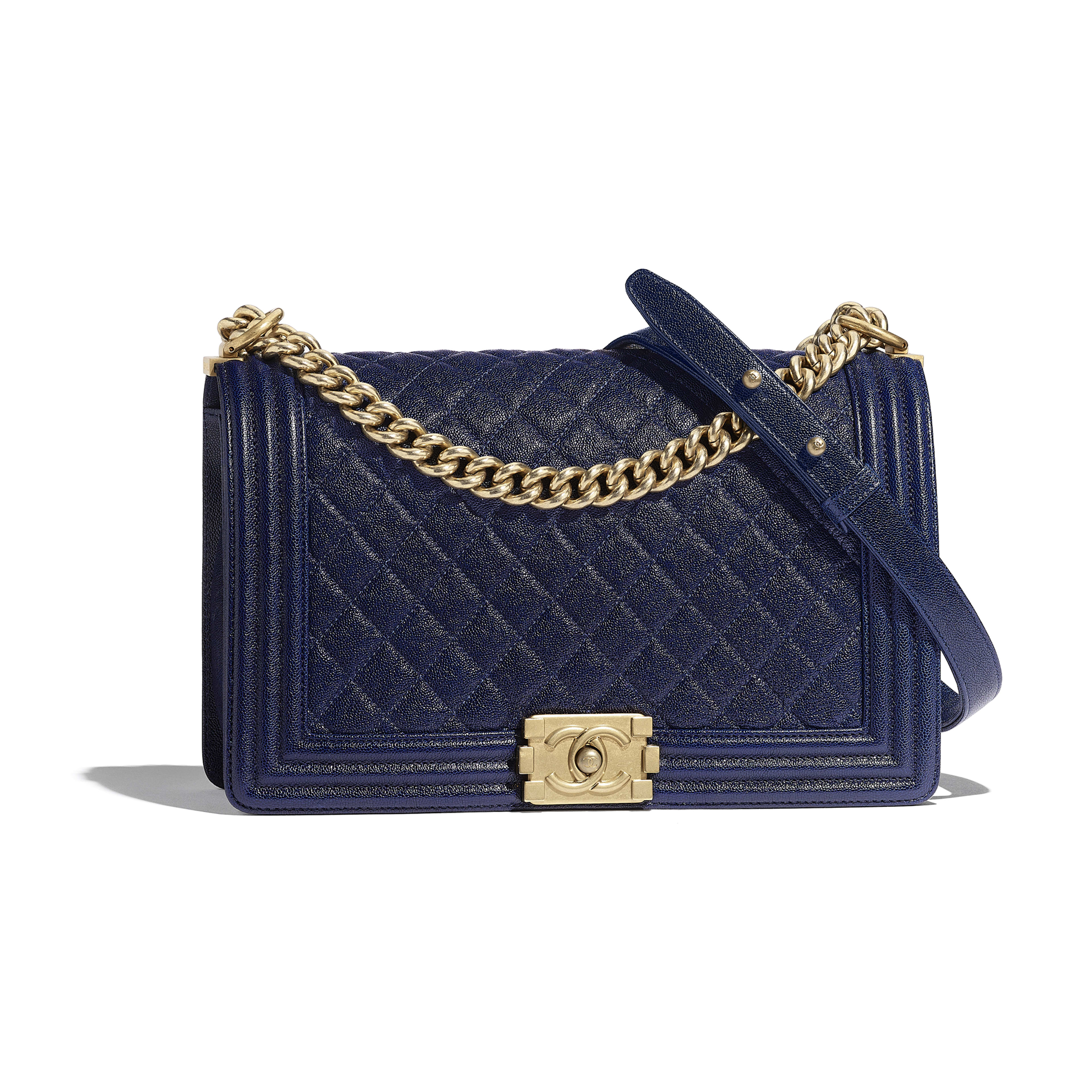 a77d8f465c88 Large BOY CHANEL Handbag - Blue - Grained Calfskin   Gold-Tone Metal -  Default ...