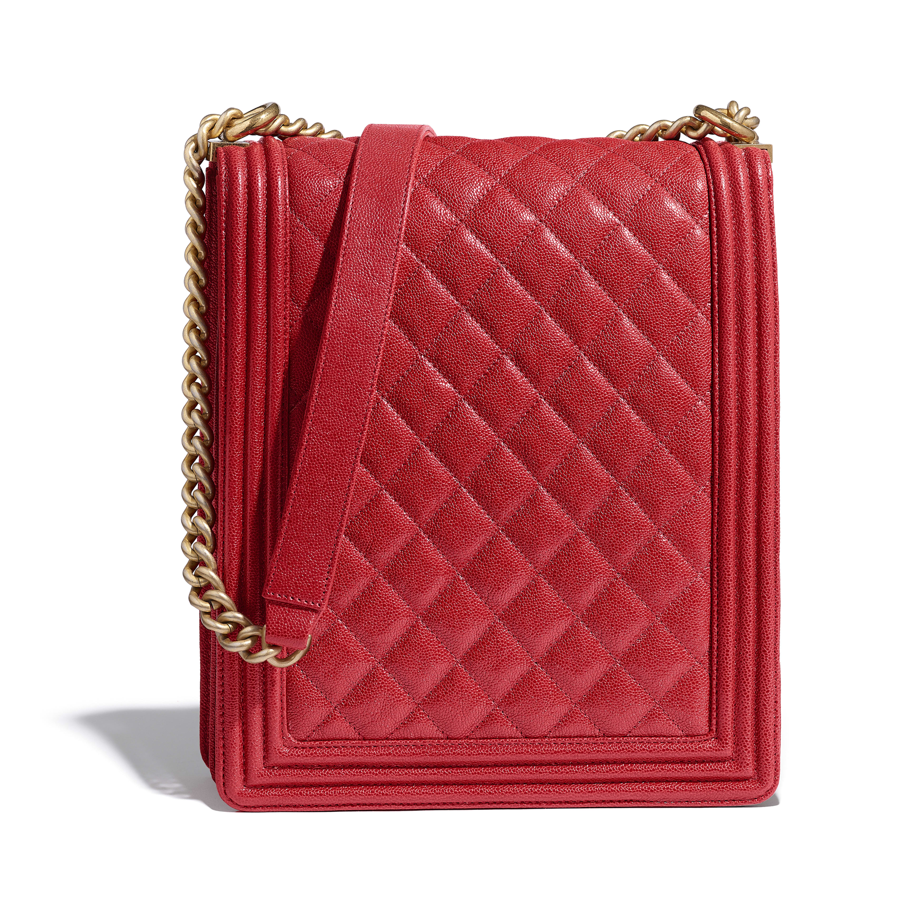 d27baee7706b2 Large BOY CHANEL Handbag - Red - Grained Calfskin   Gold-Tone Metal -  Alternative ...