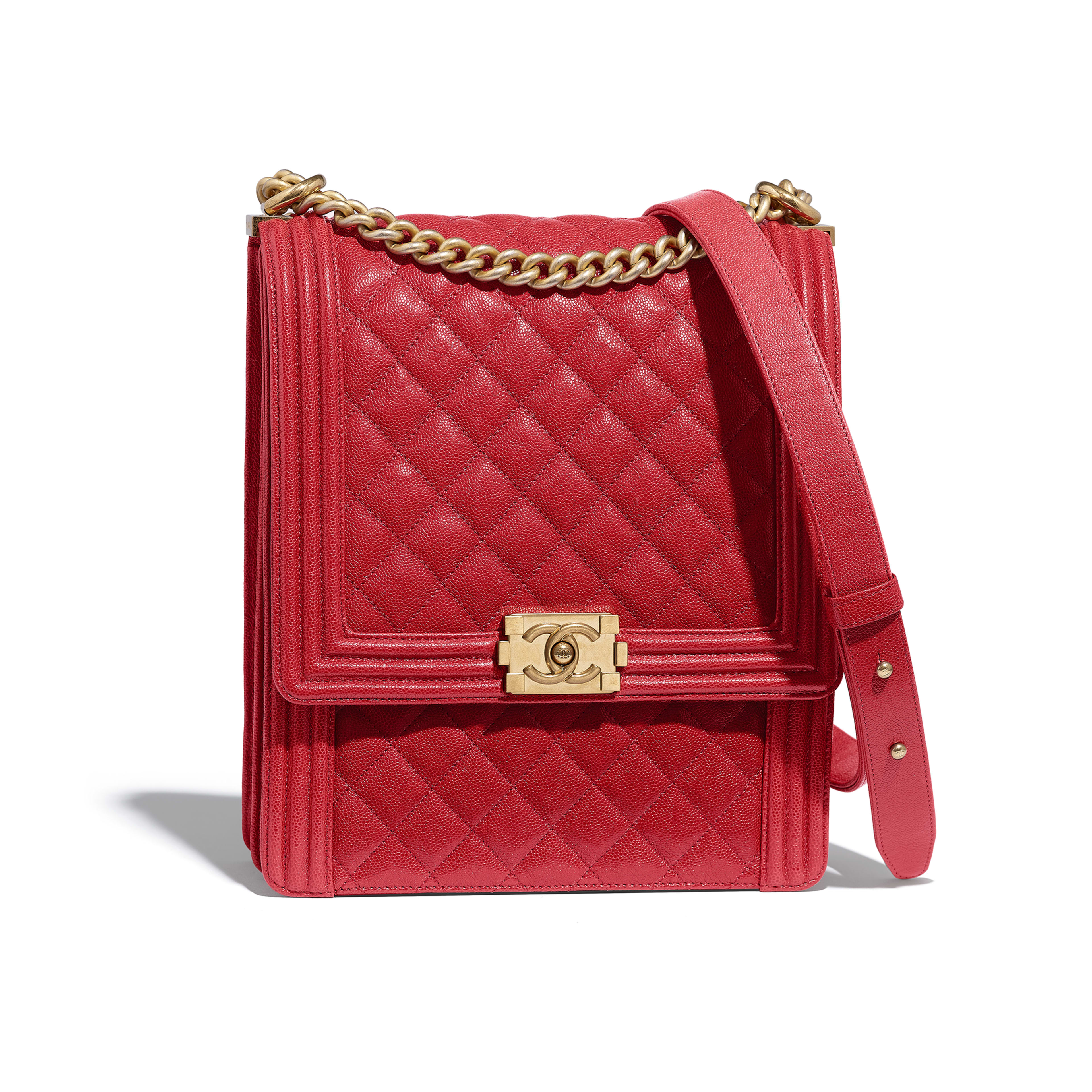 0d20fbd794d61 Large BOY CHANEL Handbag - Red - Grained Calfskin   Gold-Tone Metal -  Default ...