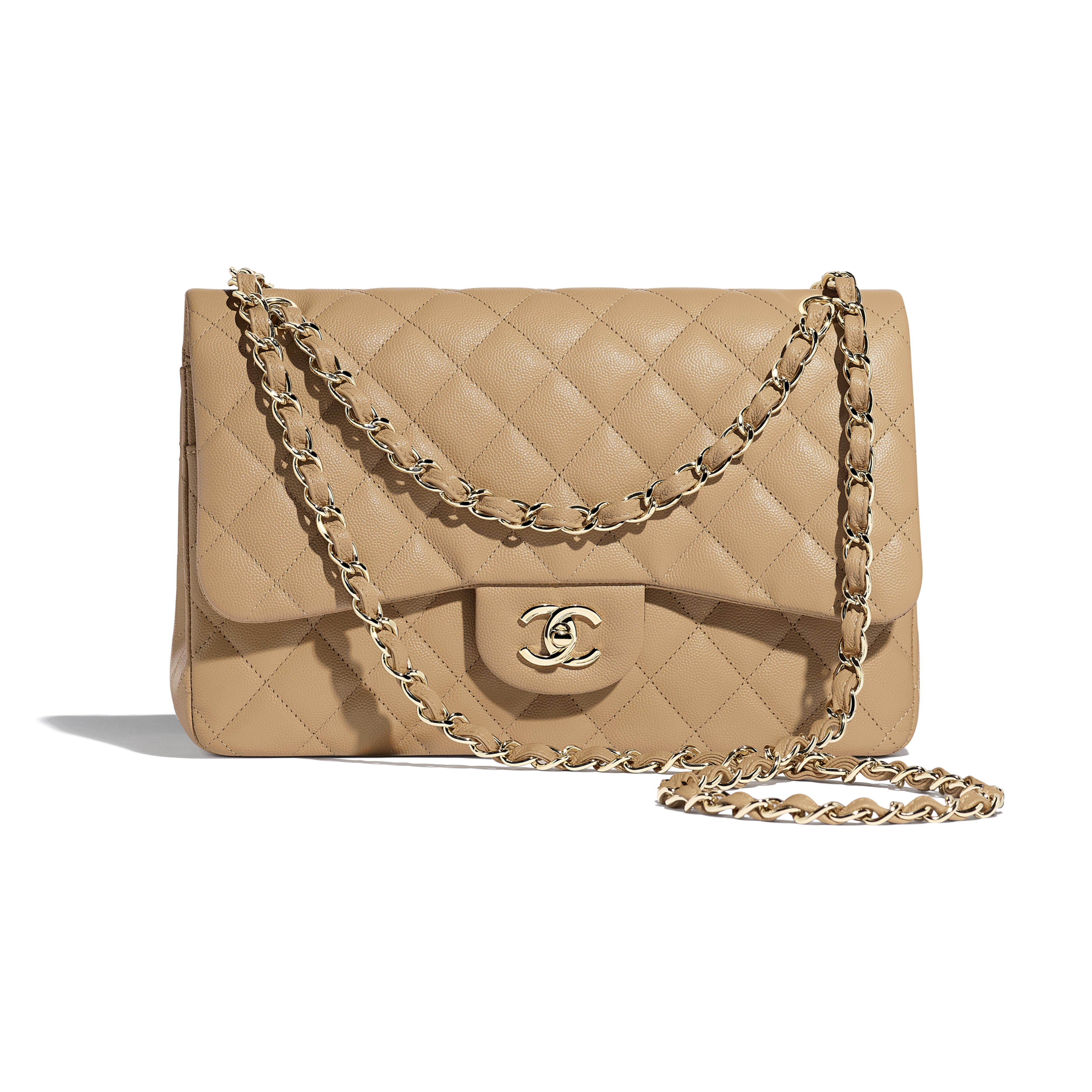 Large Classic Handbag - Beige - Grained Calfskin & Gold-Tone Metal - Default view - see full sized version
