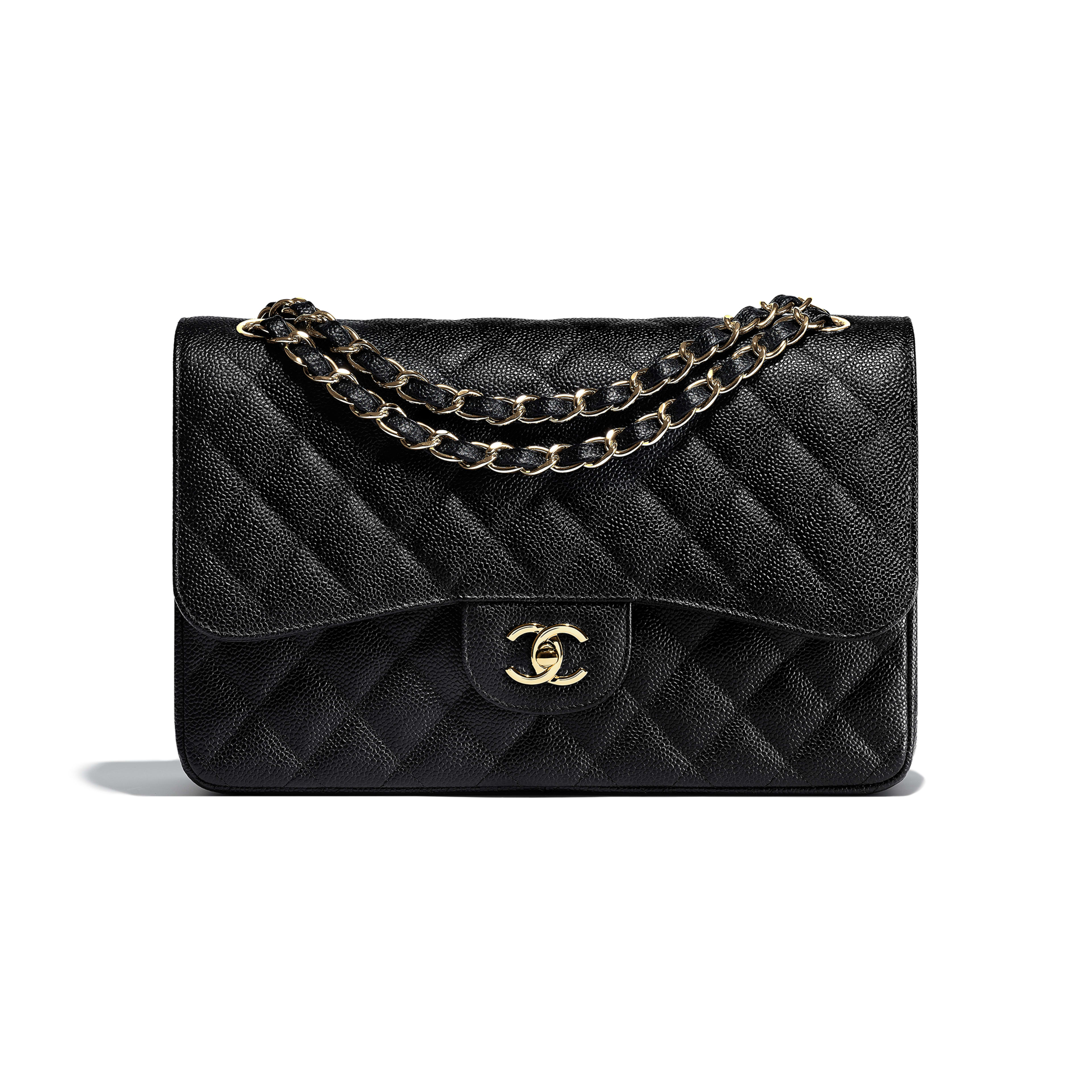 Large Classic Handbag - Black - Grained Calfskin & Gold-Tone Metal - Default view - see full sized version