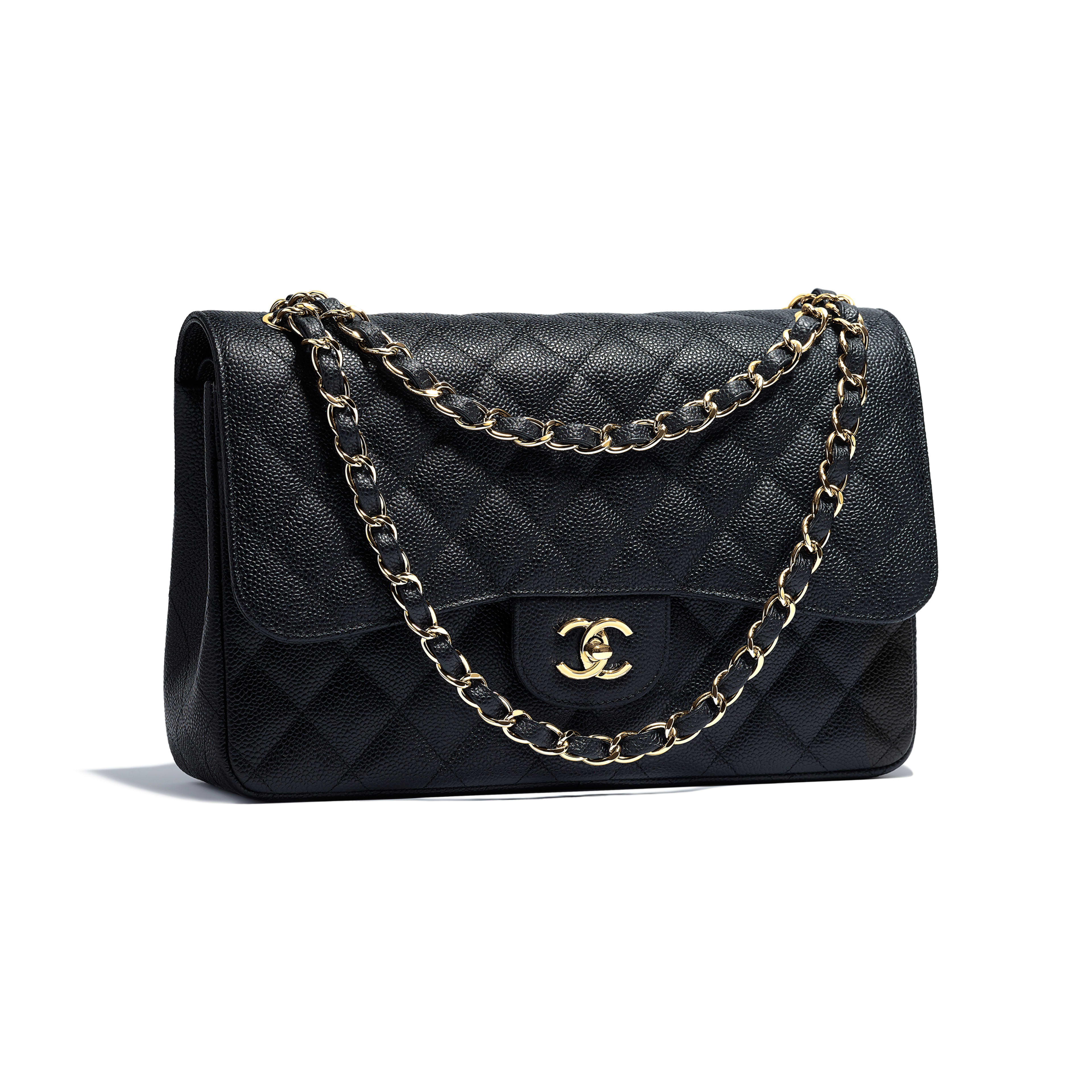 Large Classic Handbag - Black - Grained Calfskin & Gold-Tone Metal - Other view - see full sized version