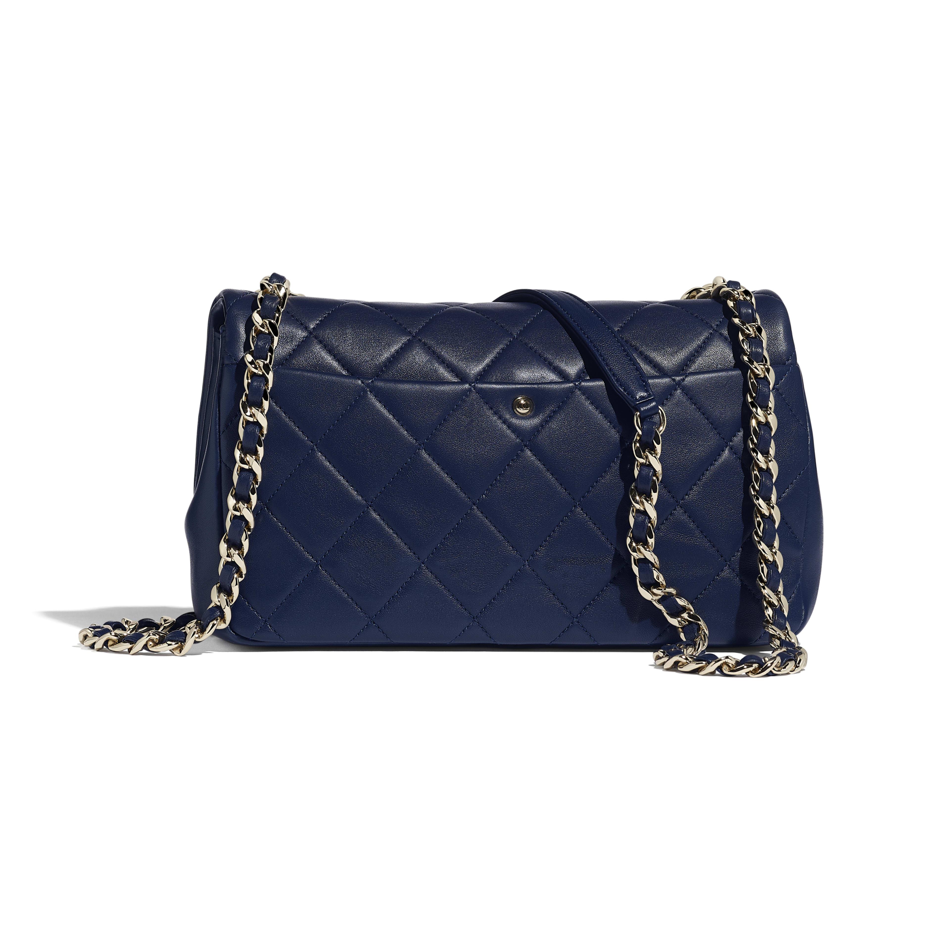 Lambskin Resin Gold Tone Metal Navy Blue Large Flap Bag Chanel