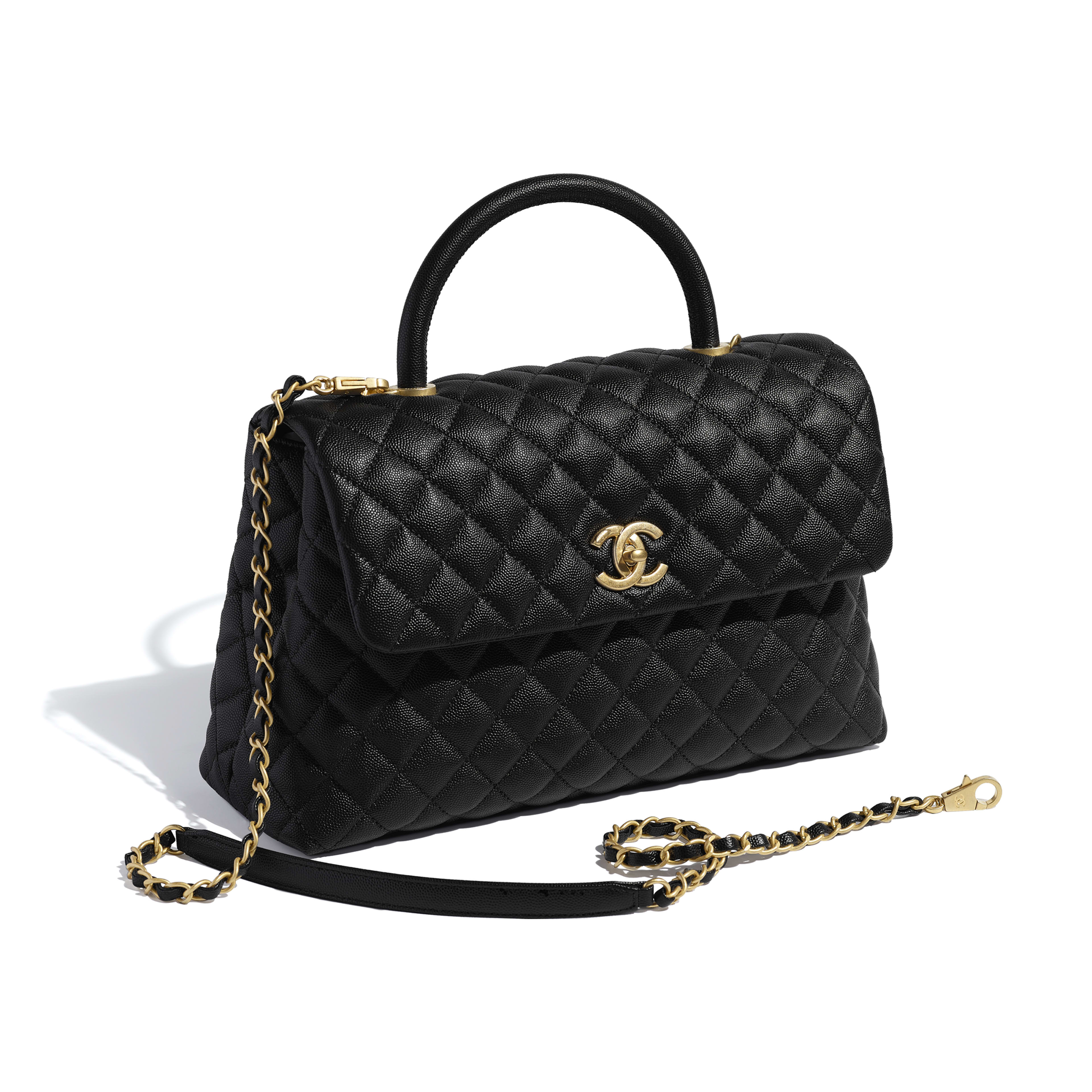 2b8994609e9 Large Flap Bag with Top Handle - Black - Grained Calfskin   Gold-Tone Metal  ...