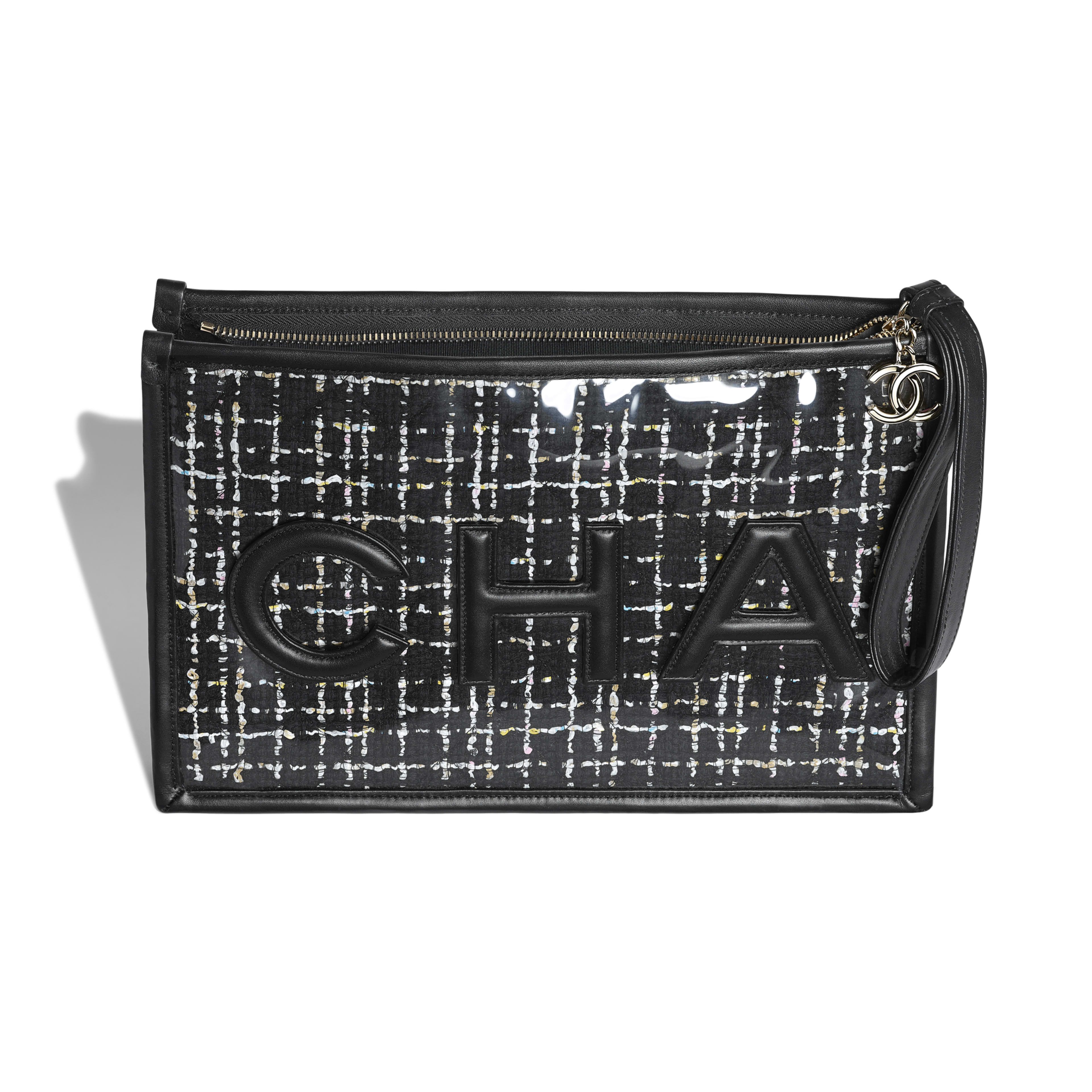 Large Pouch - Black, White, Pink & Yellow - Tweed, PVC, Lambskin & Gold-Tone Metal - Other view - see full sized version