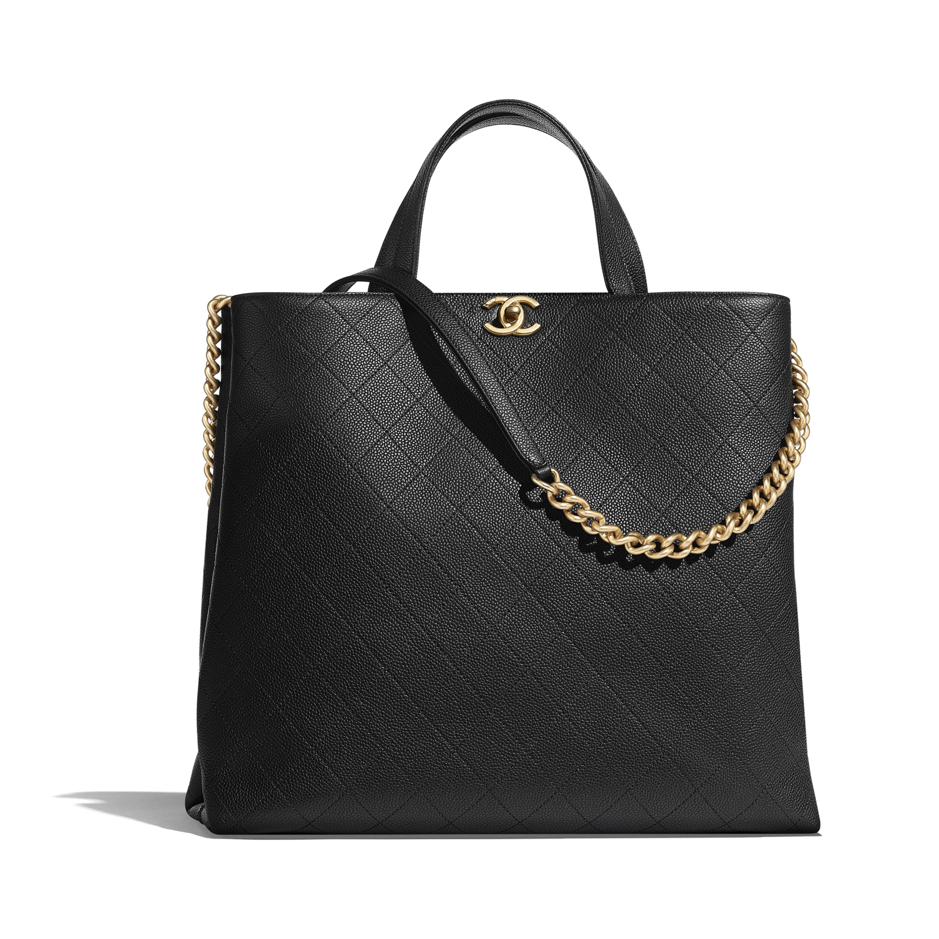 94a0c96d59 Large Shopping Bag - Black - Grained Calfskin   Gold-Tone Metal - Default  view ...