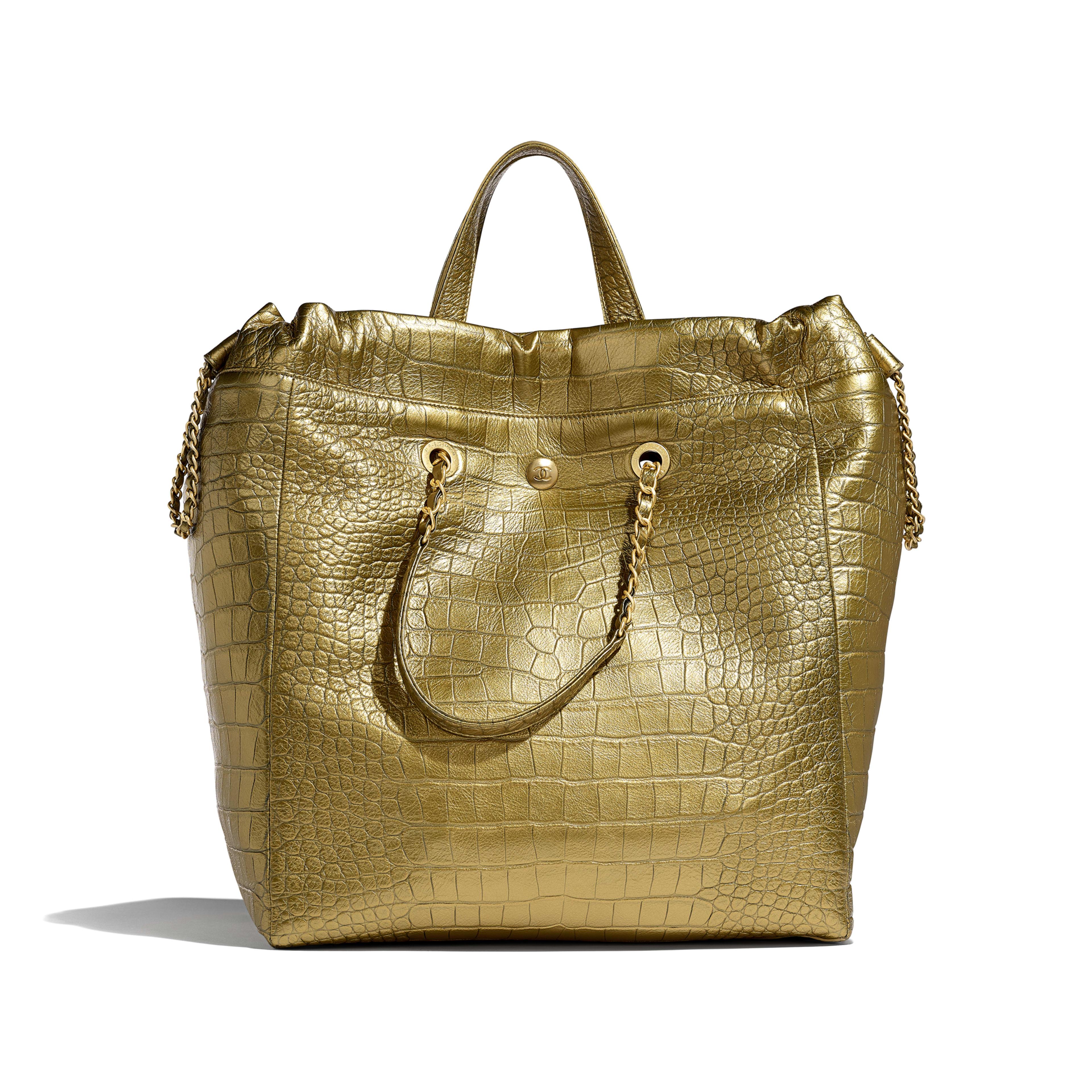 Large Shopping Bag - Gold - Metallic Crocodile Embossed Calfskin & Gold Metal - Alternative view - see full sized version