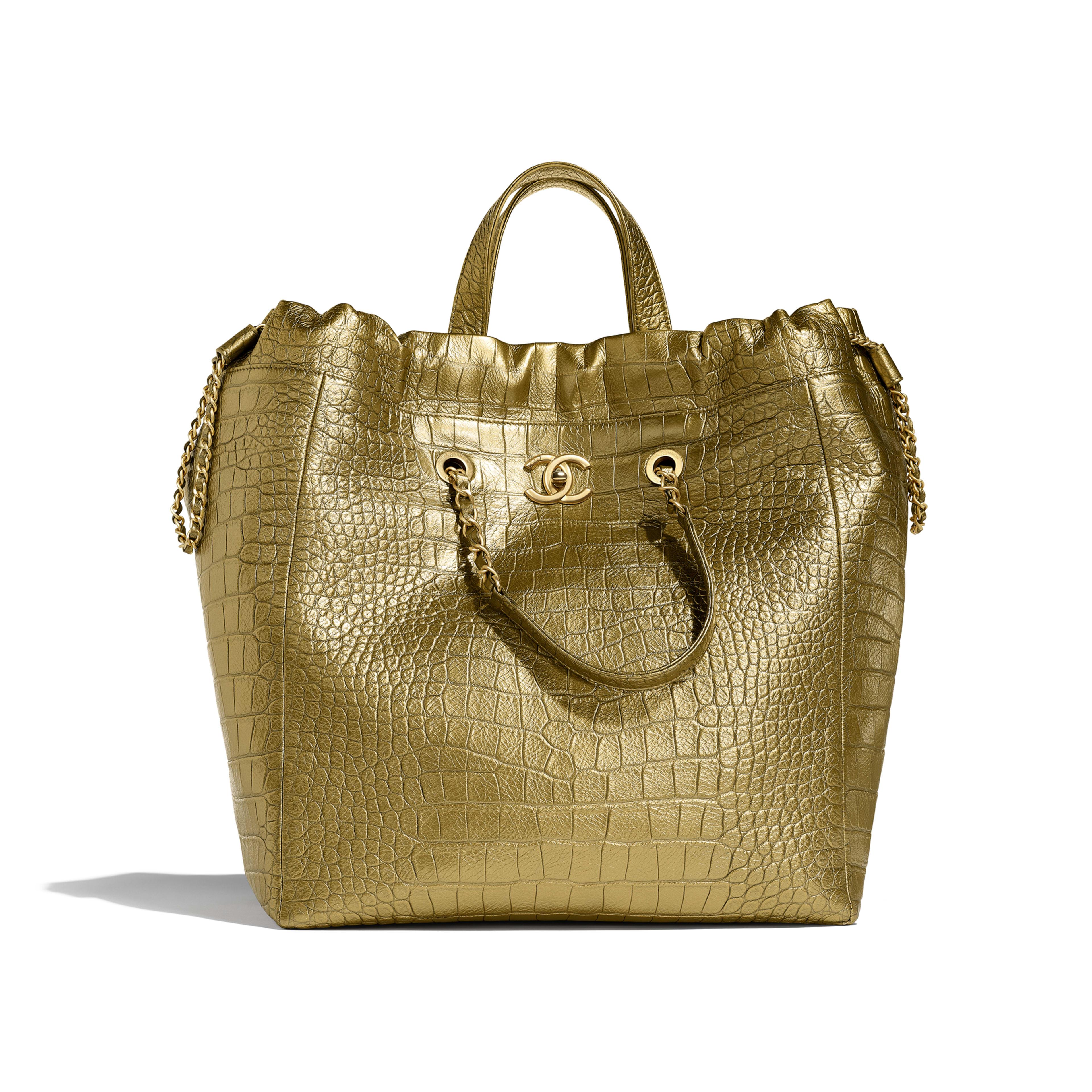 Large Shopping Bag - Gold - Metallic Crocodile Embossed Calfskin & Gold Metal - Default view - see full sized version