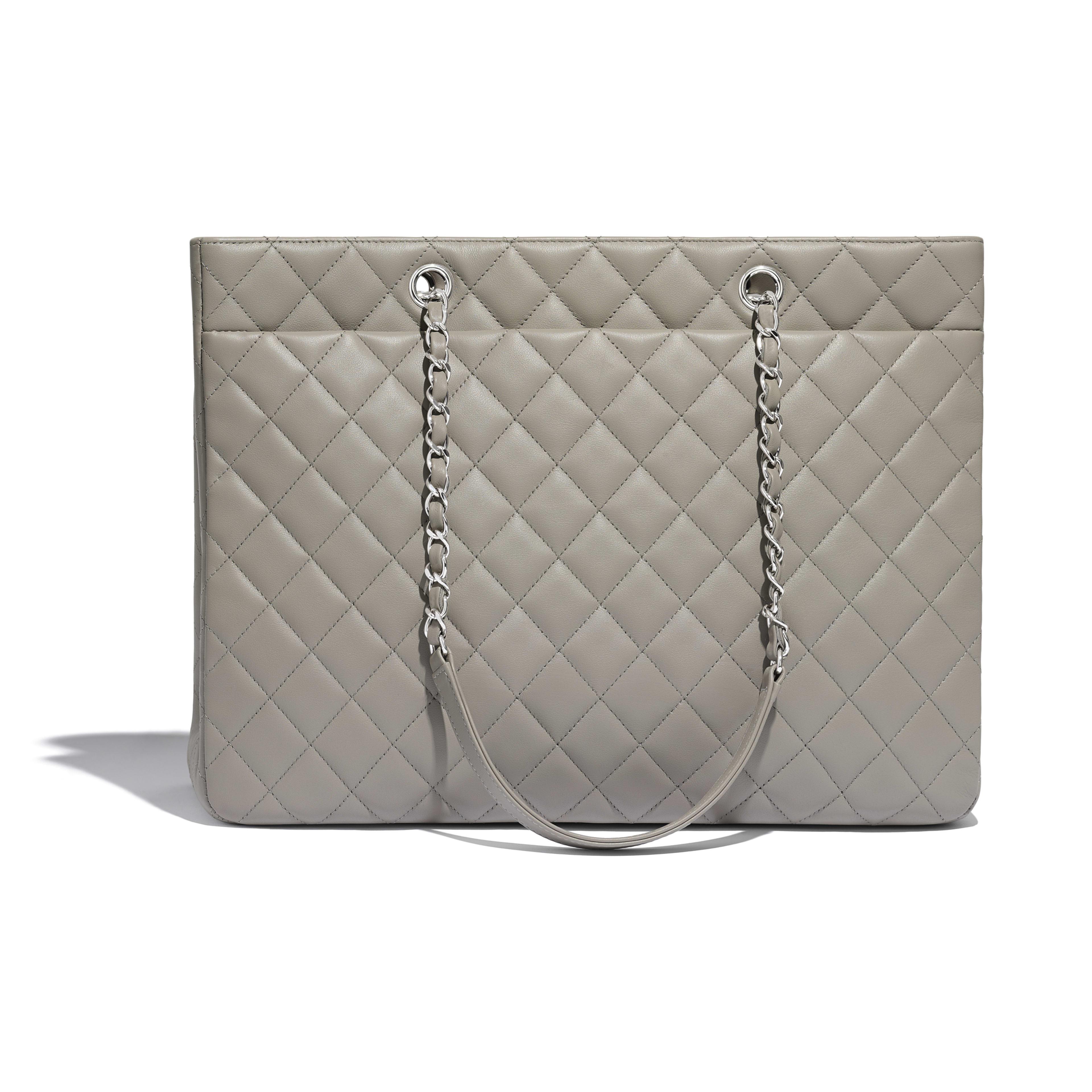 Calfskin Silver Tone Metal Gray Large Ping Bag Chanel