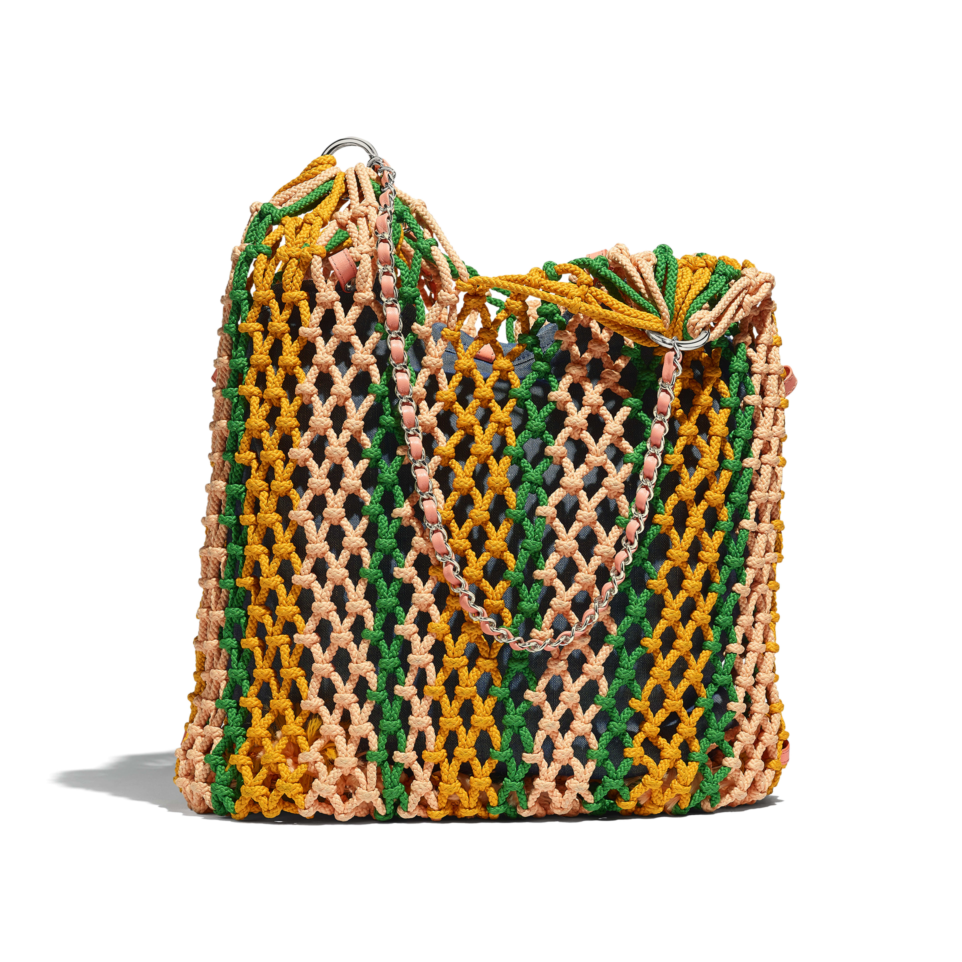 Large Shopping Bag - Green, Orange & Pink - Mixed Fibers, Lambskin & Silver-Tone Metal - Alternative view - see full sized version