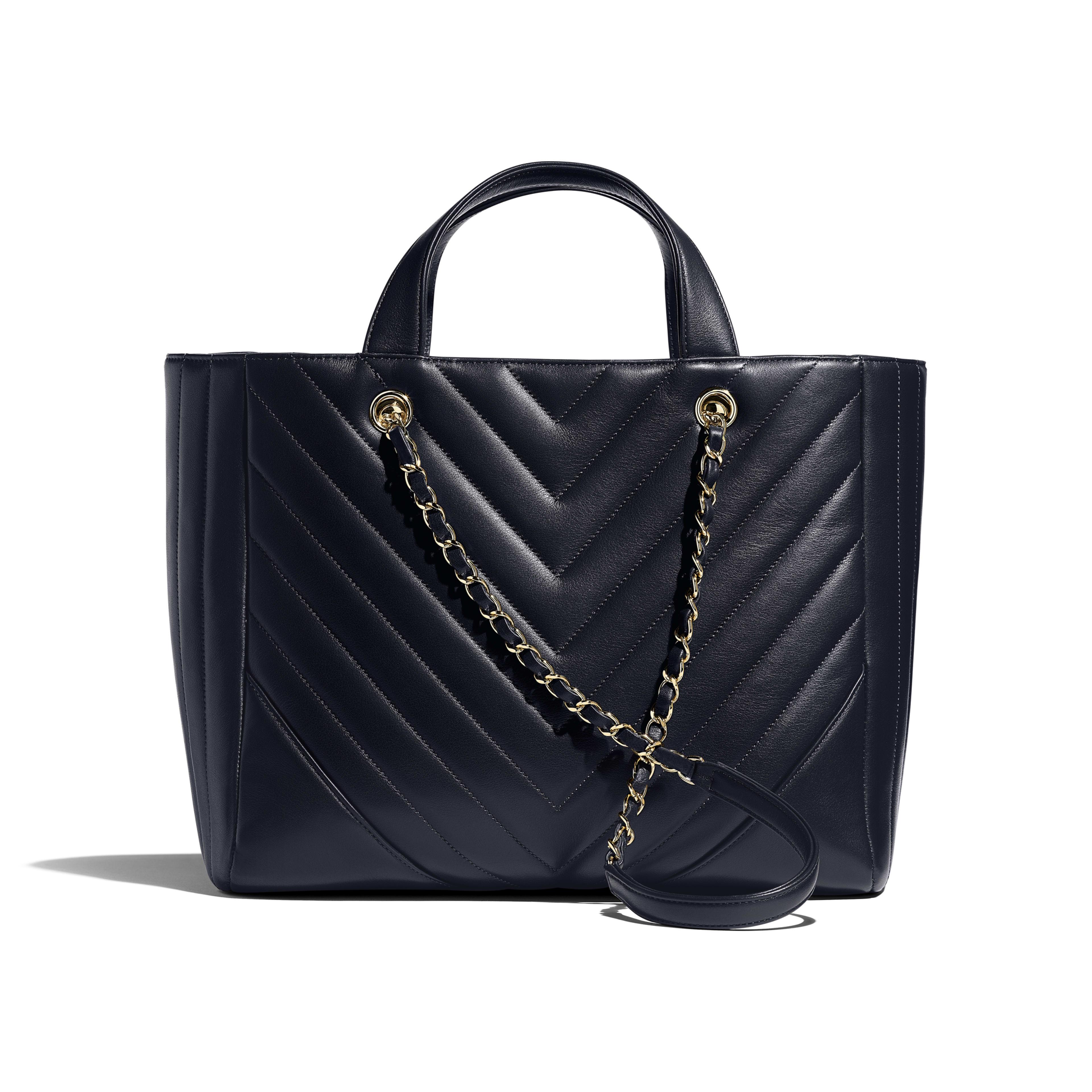 Large Shopping Bag - Navy Blue - Calfskin & Gold-Tone Metal - Alternative view - see full sized version