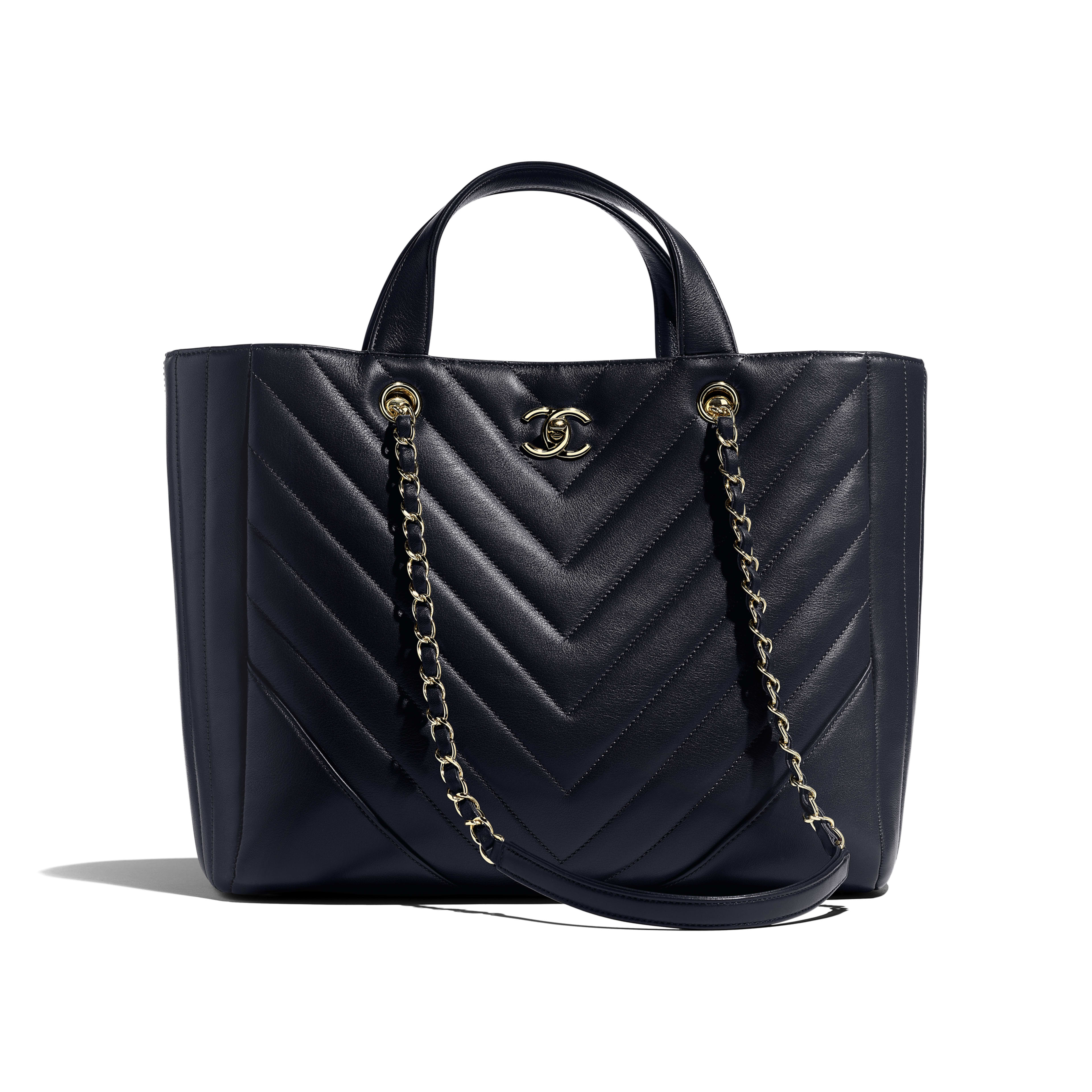 Large Shopping Bag - Navy Blue - Calfskin & Gold-Tone Metal - Default view - see full sized version