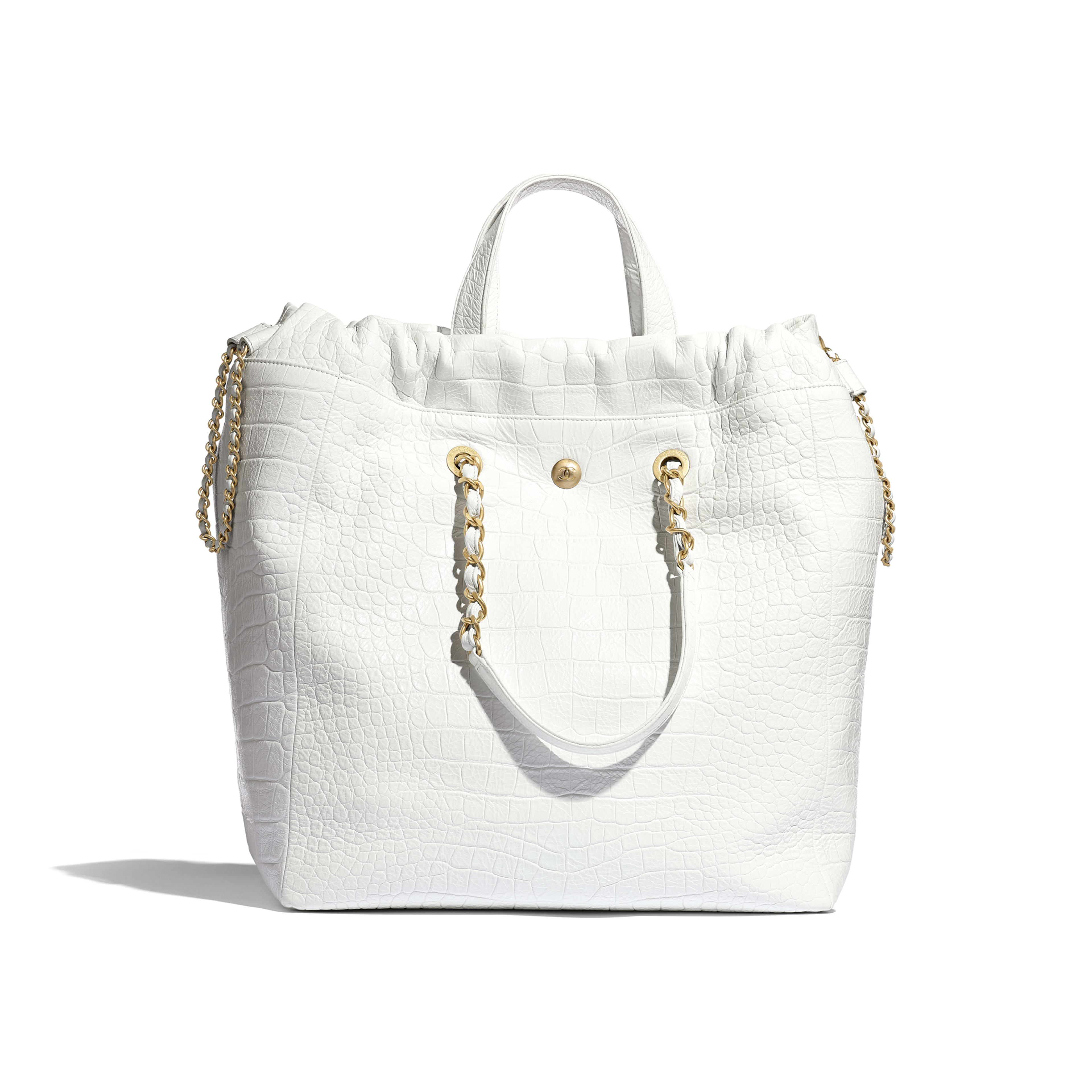 Large Shopping Bag - White - Crocodile Embossed Printed Leather & Gold-Tone Metal - Alternative view - see full sized version