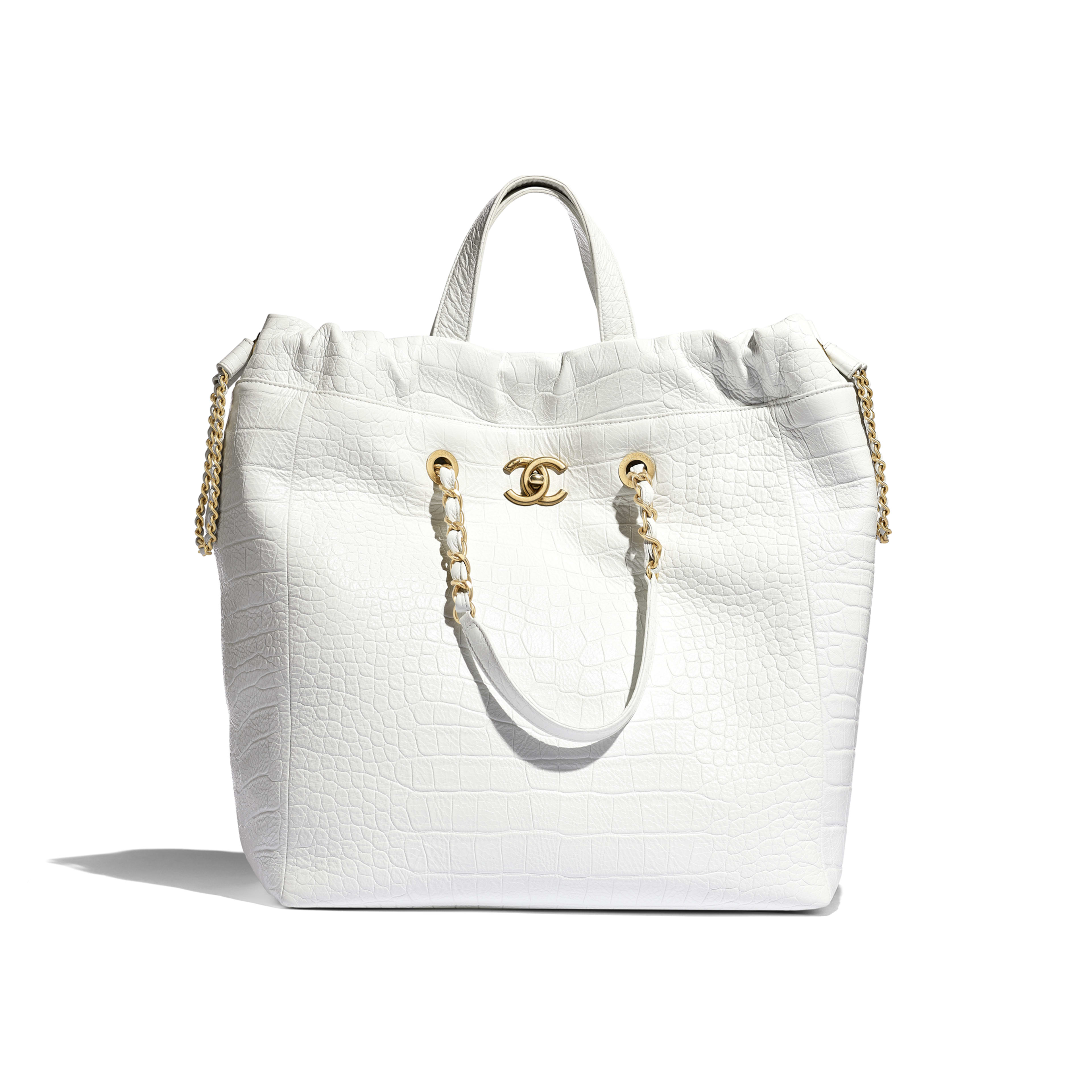 Large Shopping Bag - White - Crocodile Embossed Printed Leather & Gold-Tone Metal - Default view - see full sized version