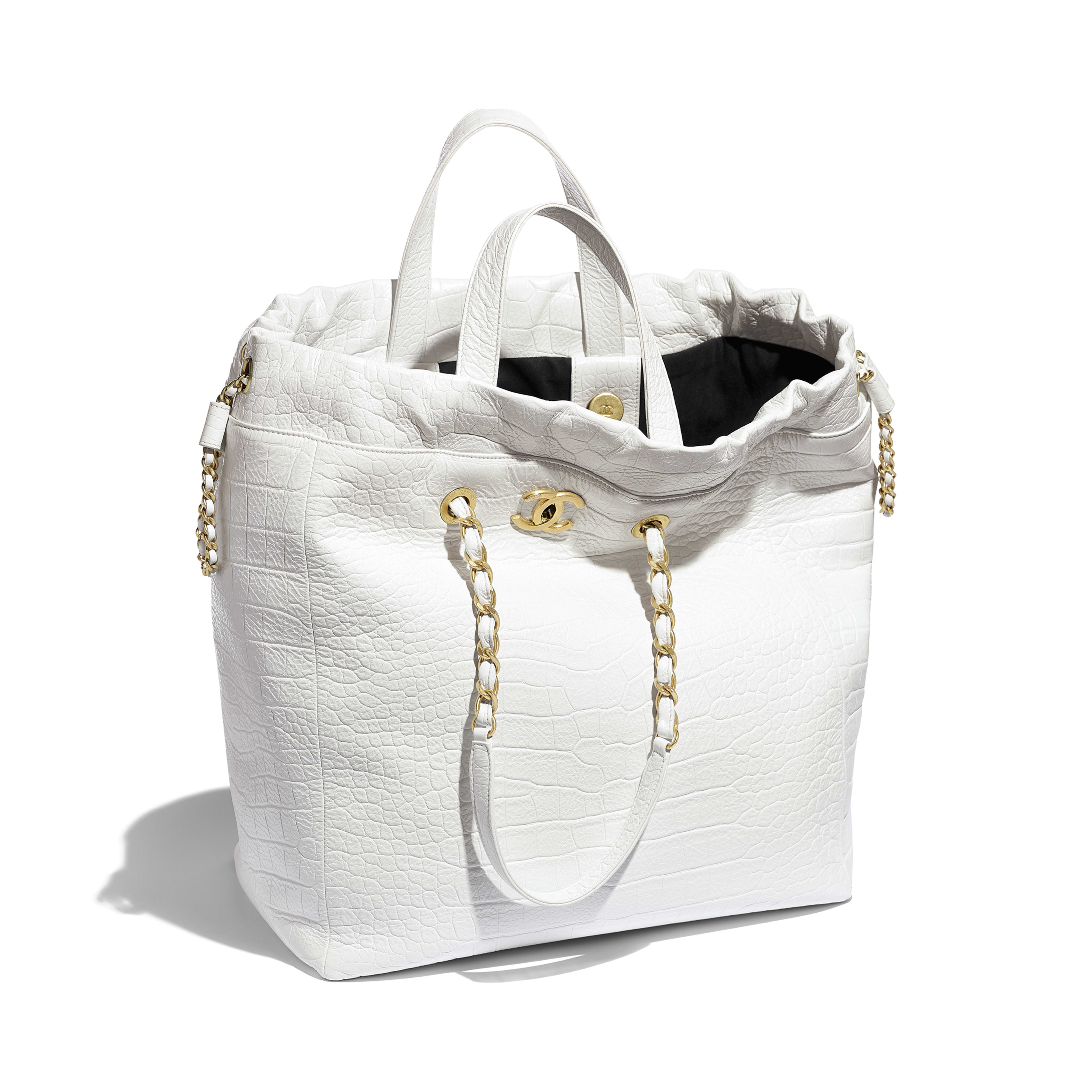 Large Shopping Bag - White - Crocodile Embossed Printed Leather & Gold-Tone Metal - Other view - see full sized version