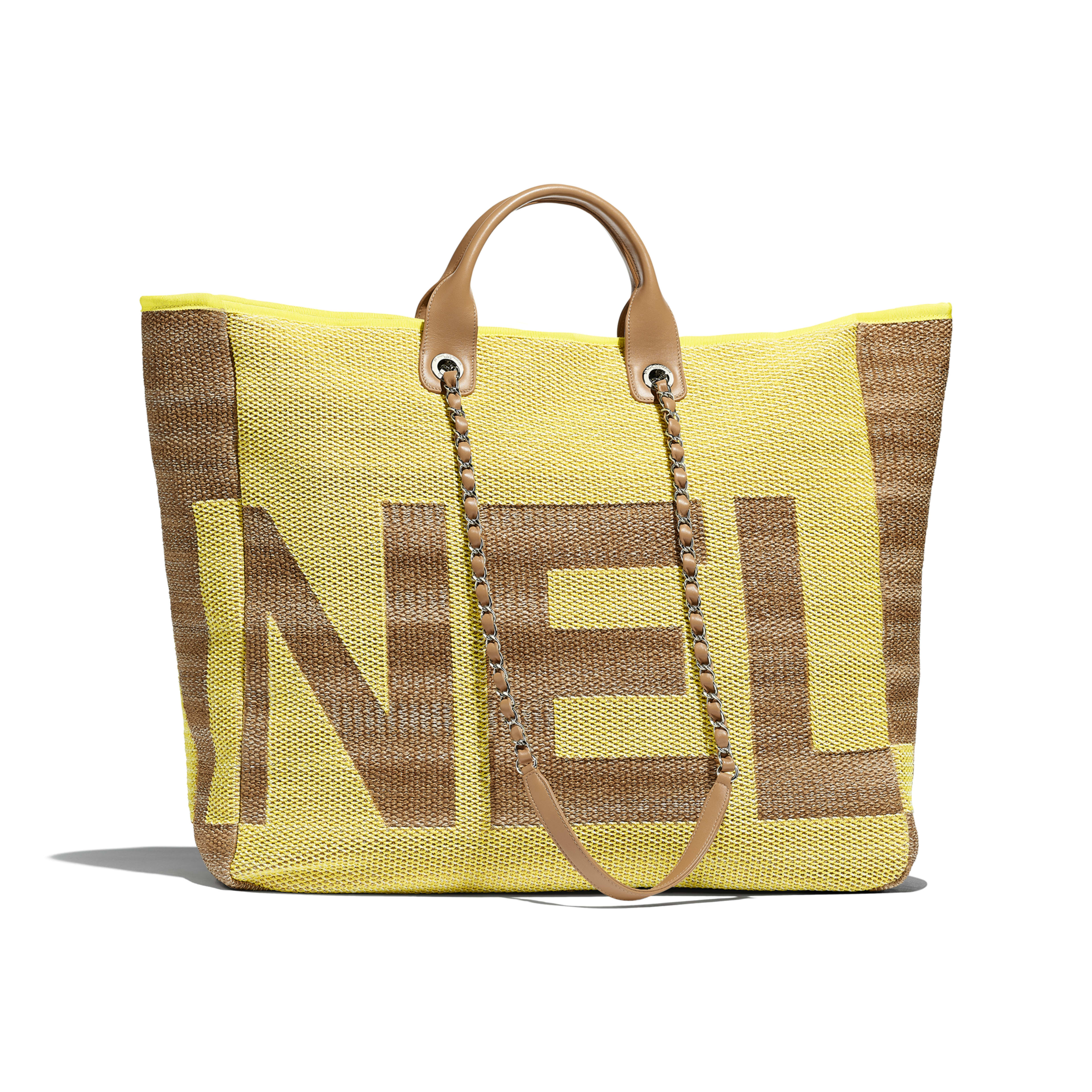Large Shopping Bag - Yellow & Dark Beige - Mixed Fibers, Viscose, Calfskin & Silver-Tone Metal - Alternative view - see full sized version