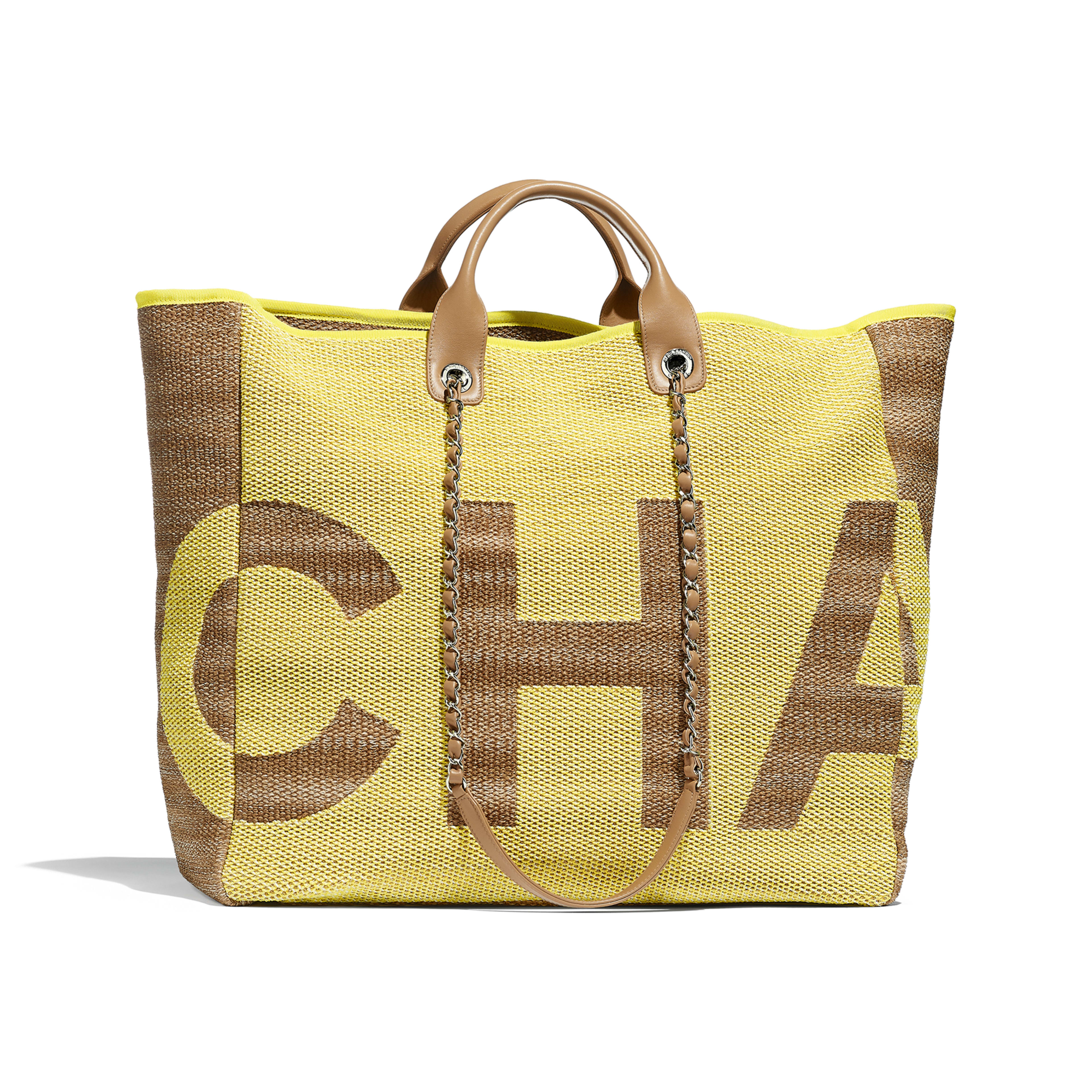 Large Shopping Bag - Yellow & Dark Beige - Mixed Fibers, Viscose, Calfskin & Silver-Tone Metal - Default view - see full sized version