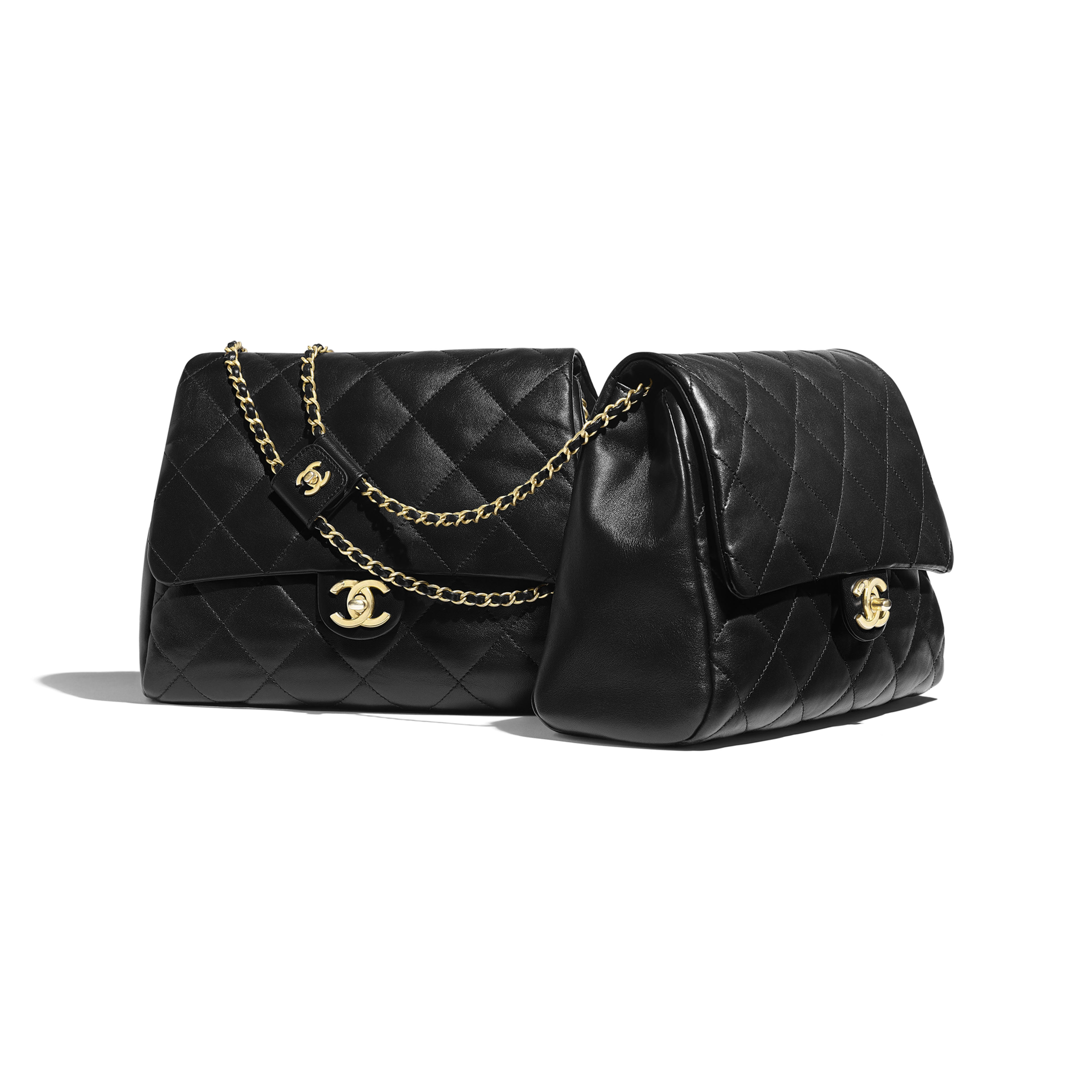 Lambskin & Gold-Tone Metal Black Large Side-Packs | CHANEL