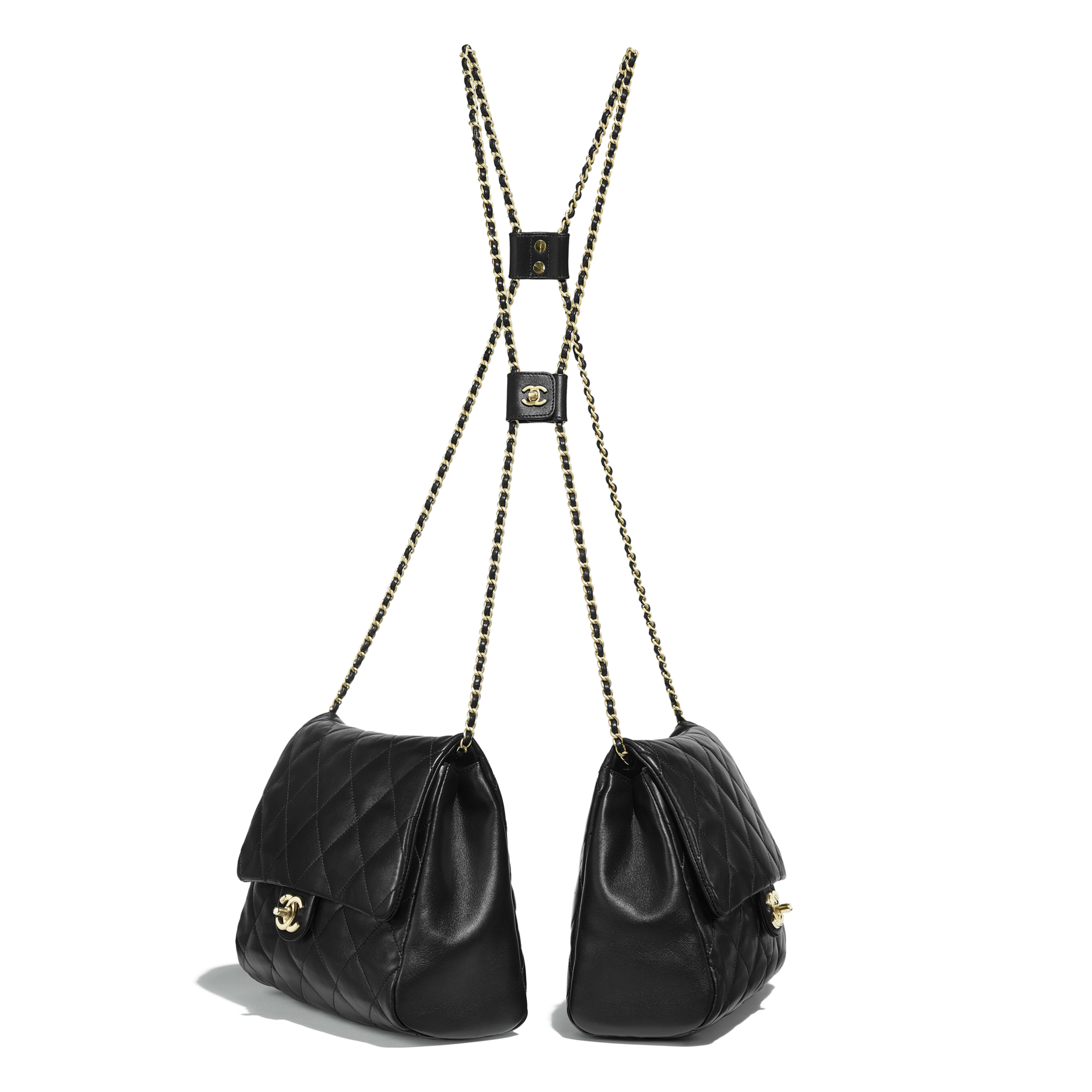 d66fa2cafc0c Large Side-Packs - Black - Lambskin   Gold-Tone Metal - Other view ...