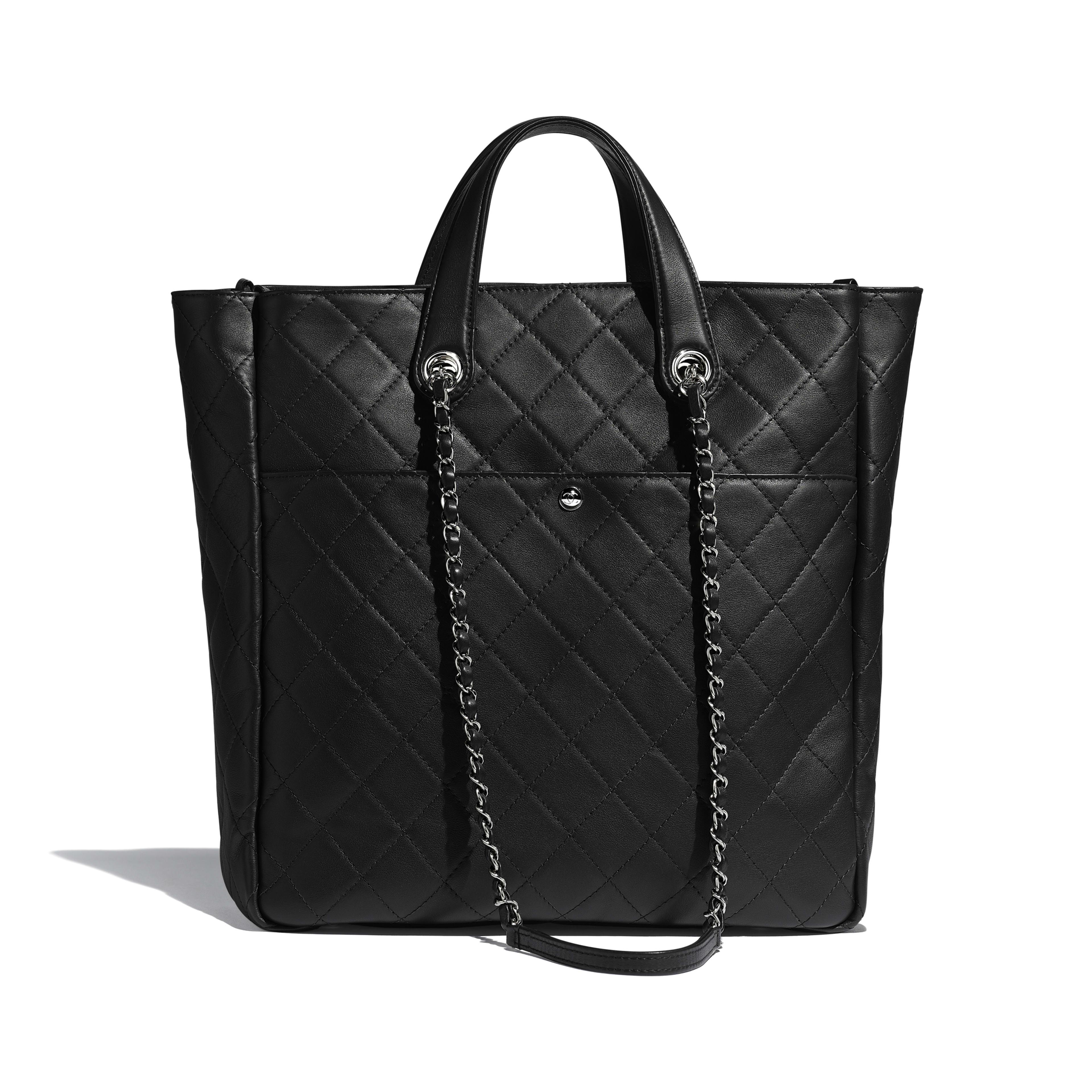 กระเป๋าช้อปปิ้งโท้ทใบใหญ่ตกแต่งซิป - สีดำ - หนังลูกวัวและโลหะสีเงิน - มุมมองทางอื่น - ดูเวอร์ชันขนาดเต็ม