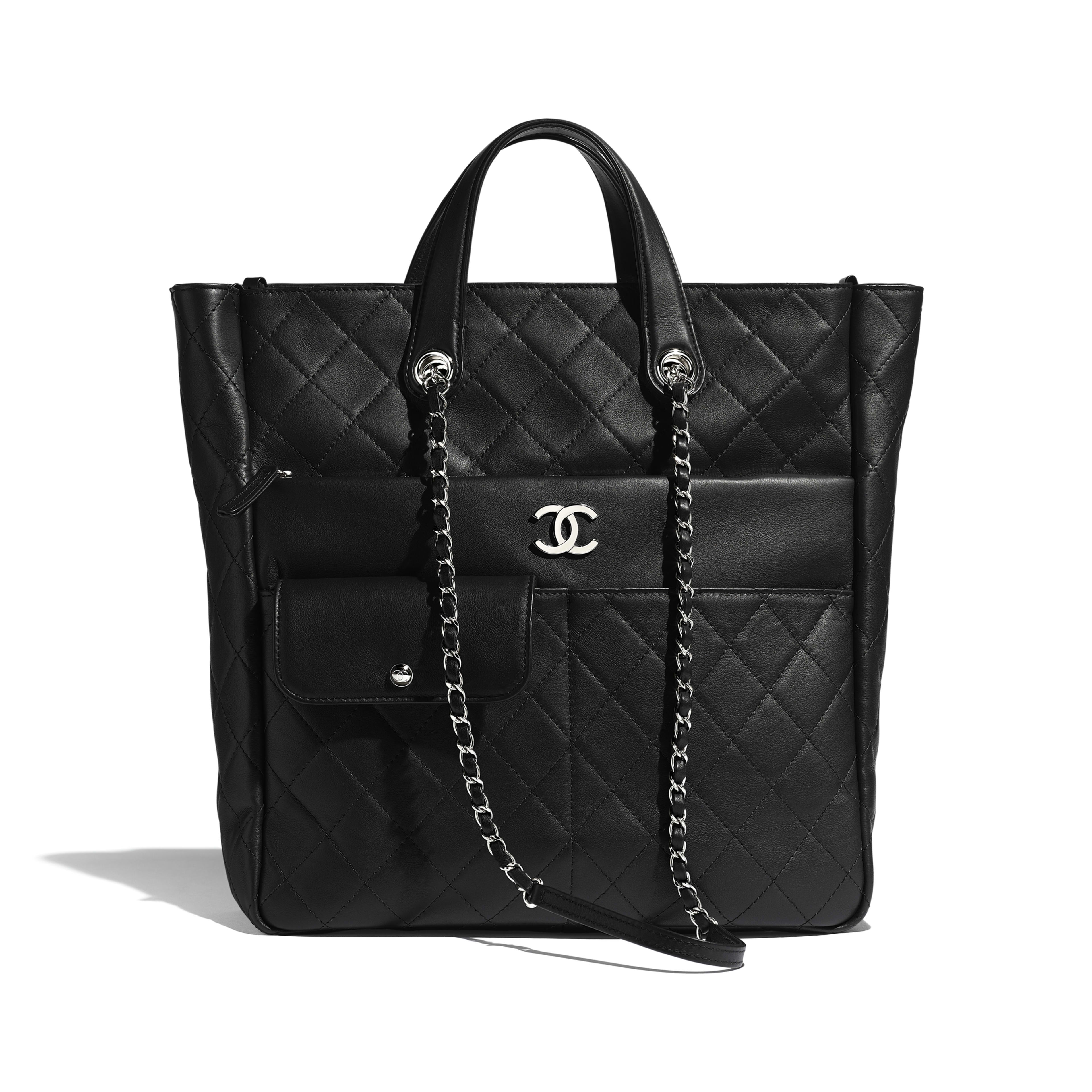 กระเป๋าช้อปปิ้งโท้ทใบใหญ่ตกแต่งซิป - สีดำ - หนังลูกวัวและโลหะสีเงิน - มุมมองปัจจุบัน - ดูเวอร์ชันขนาดเต็ม