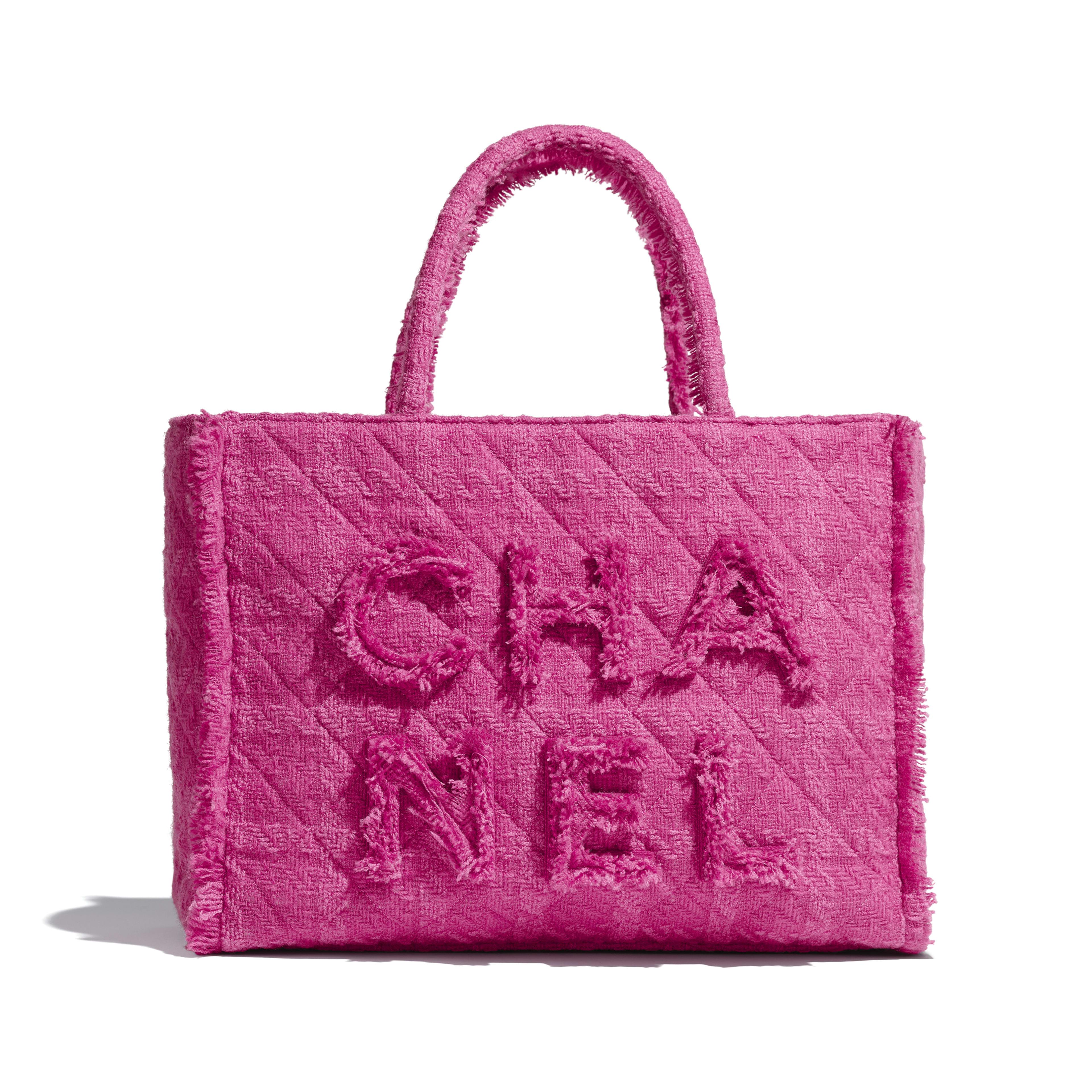 Large Zipped Shopping Bag - Pink - Wool Tweed & Gold-Tone Metal - Default view - see full sized version