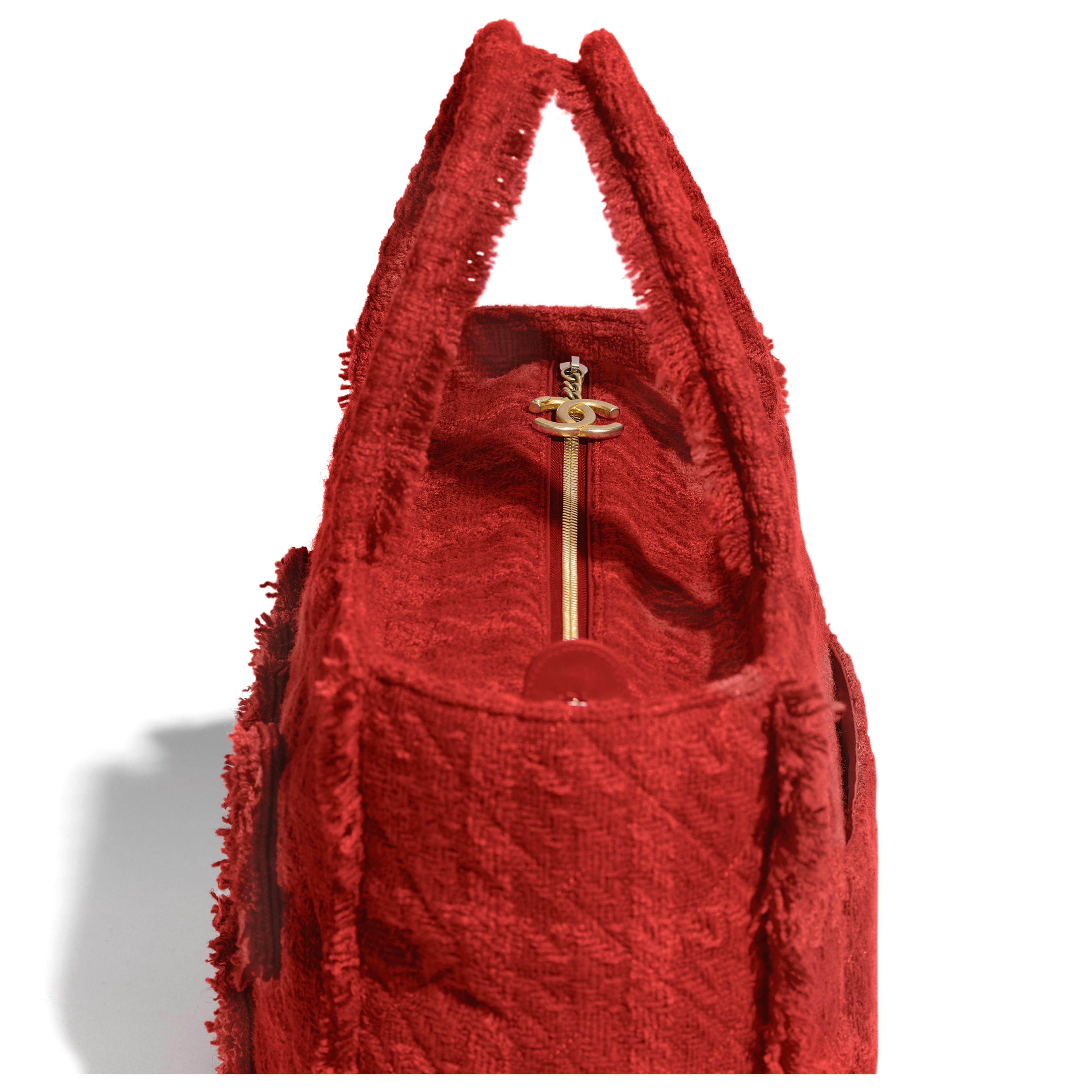 กระเป๋าช้อปปิ้งโท้ทใบใหญ่ตกแต่งซิป - สีแดง - ผ้าทวีตขนสัตว์ และโลหะสีทอง - มุมมองพิเศษ - ดูเวอร์ชันขนาดเต็ม