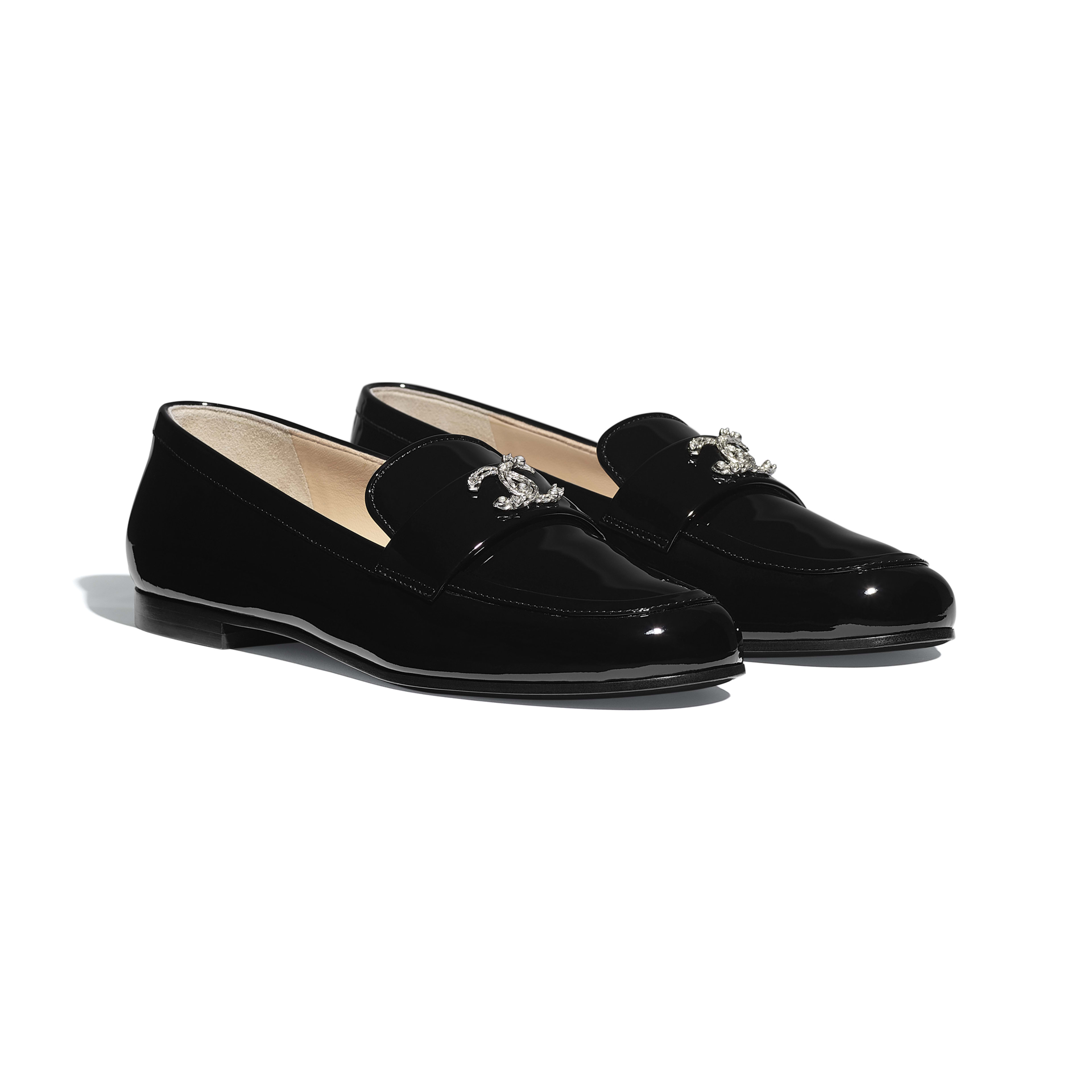 Patent Calfskin Black Loafers   CHANEL