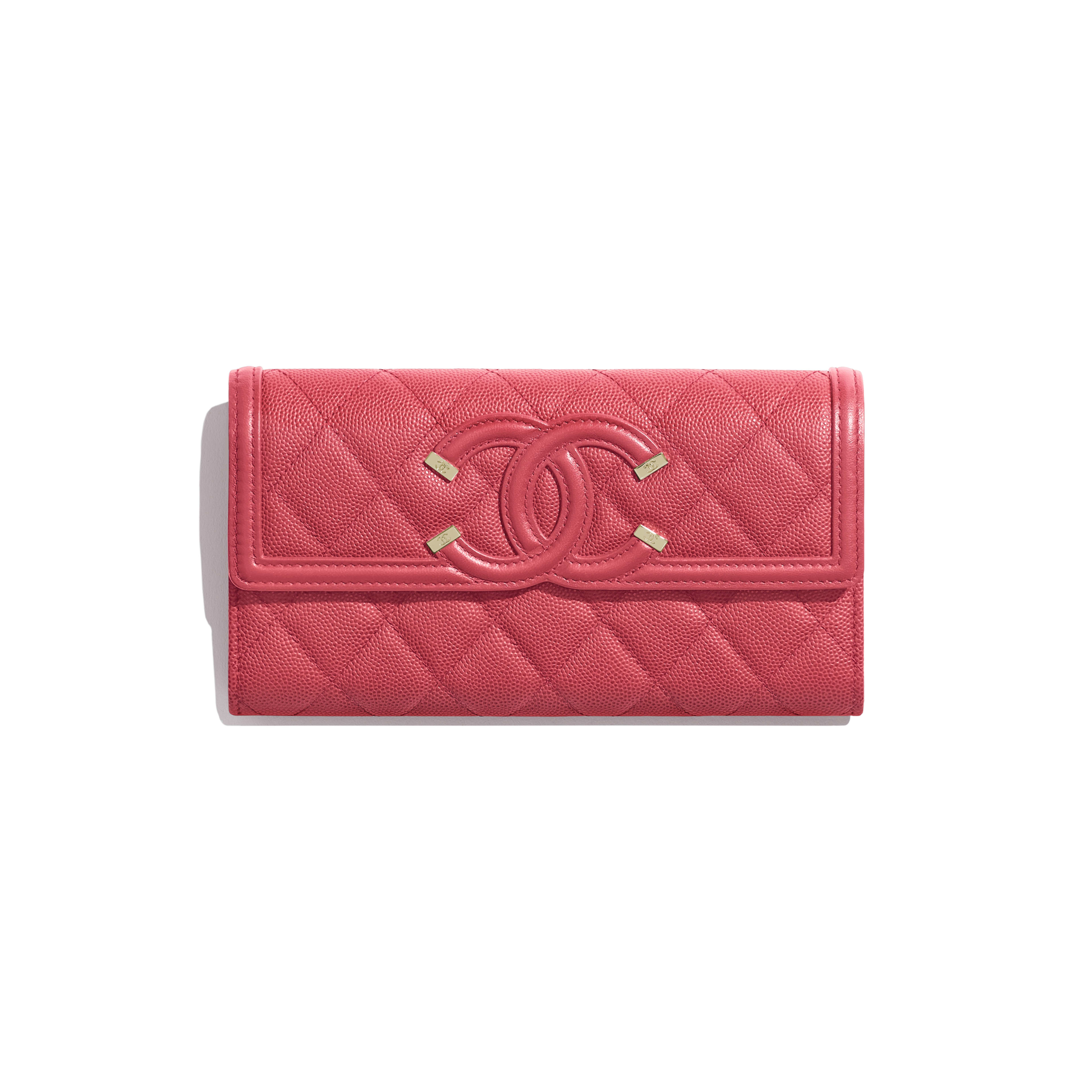 Long Flap Wallet - Pink - Grained Calfskin & Gold-Tone Metal - Default view - see full sized version