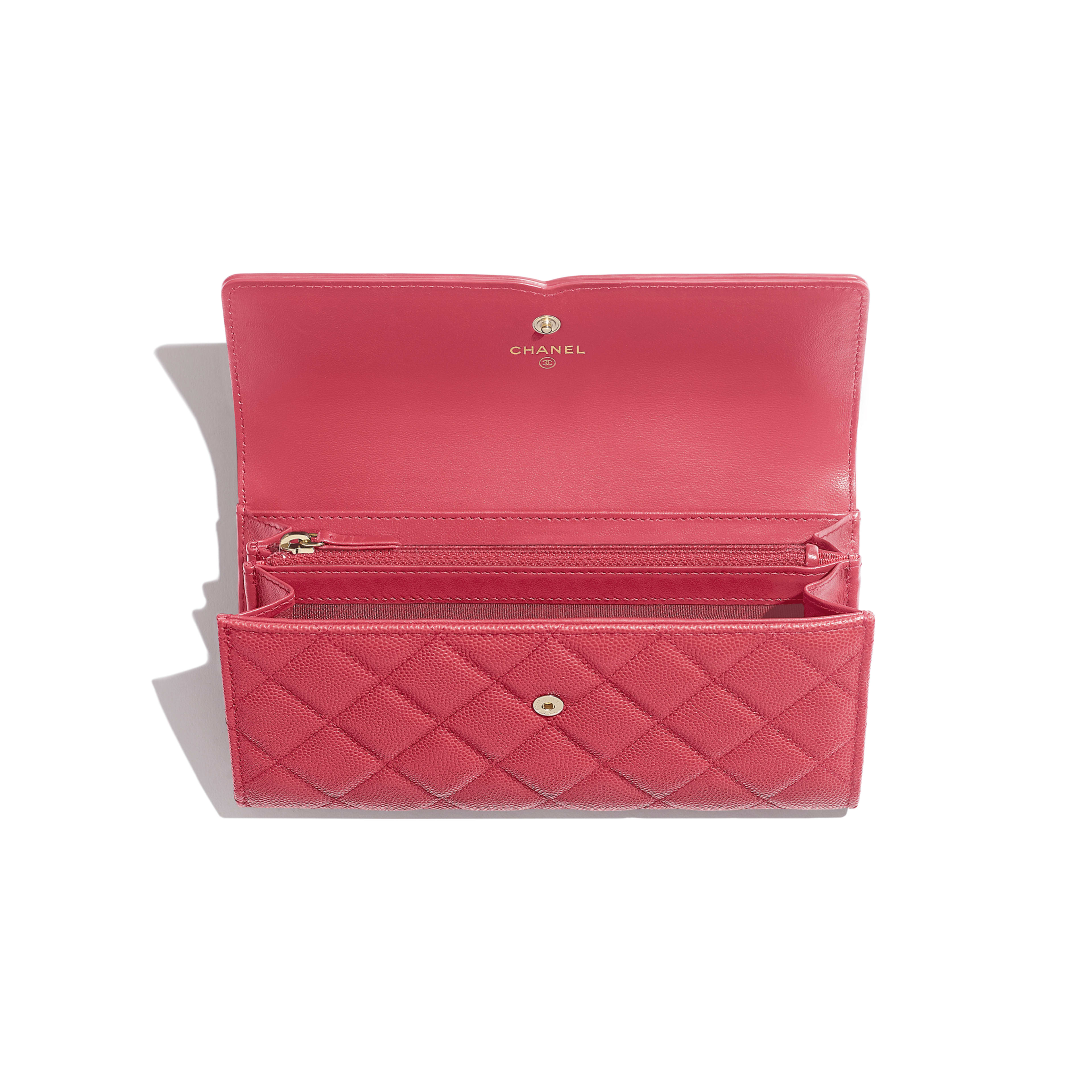Long Flap Wallet - Pink - Grained Calfskin & Gold-Tone Metal - Other view - see full sized version