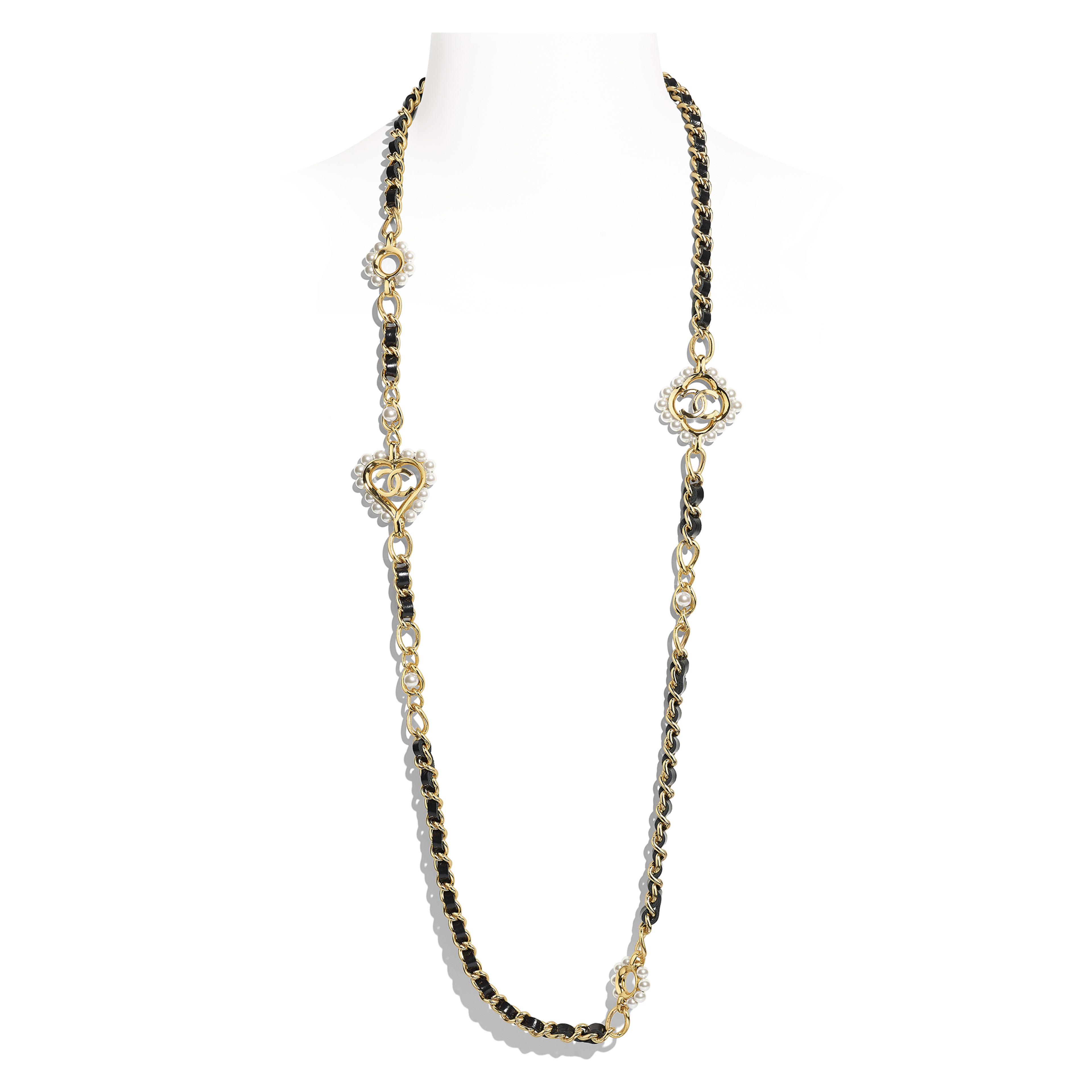 Long Necklace - Gold, Black & Pearly White - Metal, Calfskin & Glass Pearls - Default view - see full sized version
