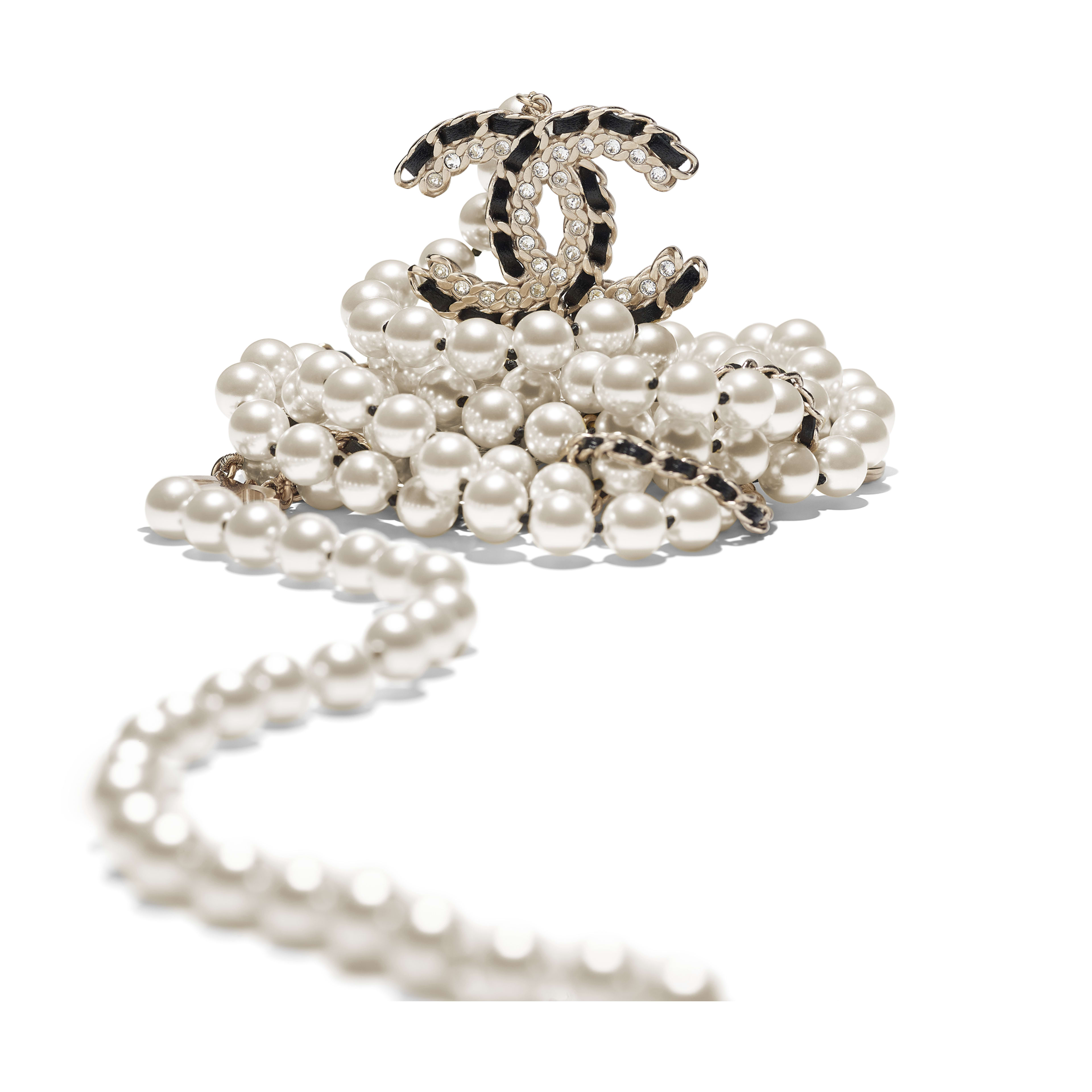 Long Necklace - Gold, Pearly White, Black & Crystal - Metal, Glass Pearls, Lambskin & Strass - Alternative view - see full sized version