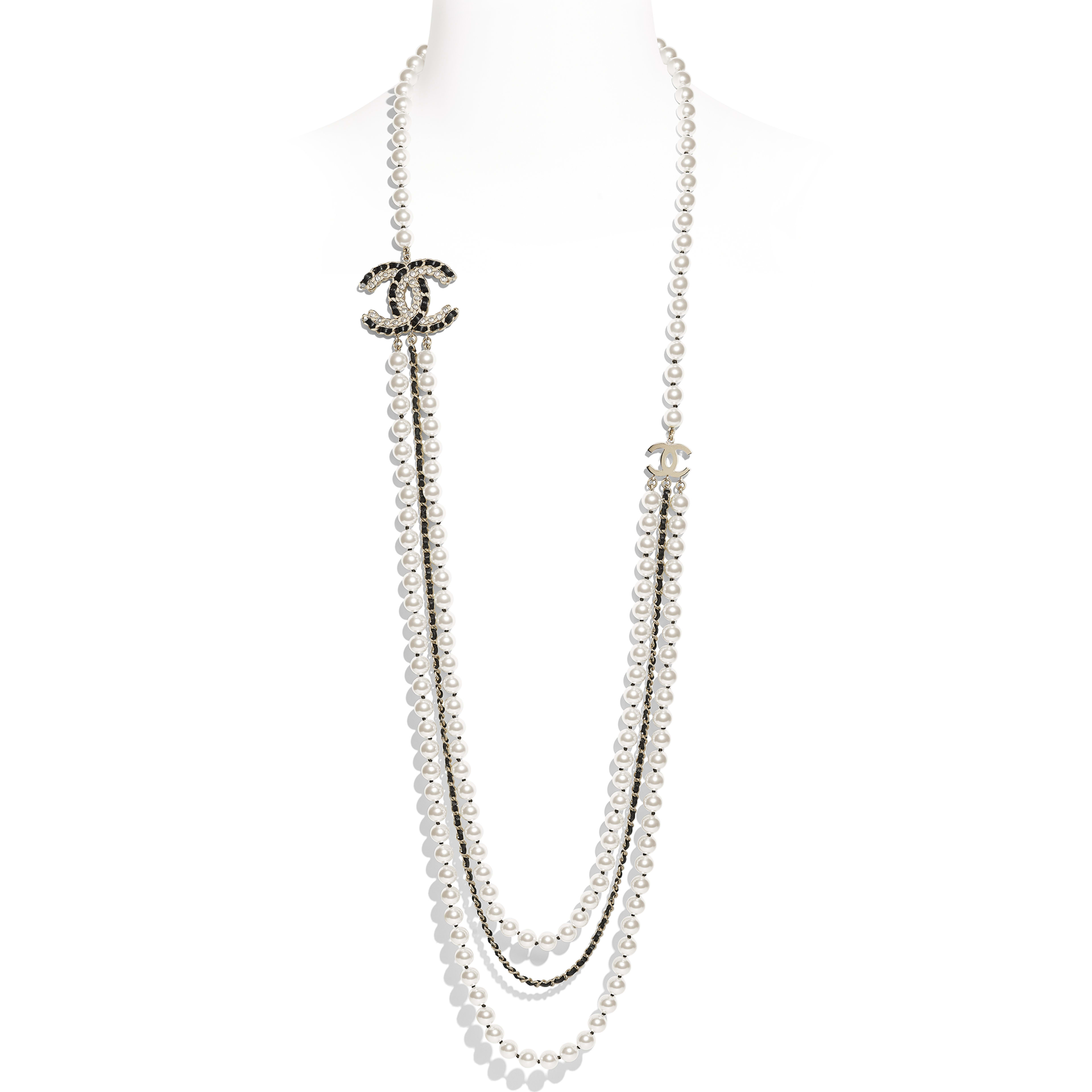 Long Necklace - Gold, Pearly White, Black & Crystal - Metal, Glass Pearls, Lambskin & Strass - Default view - see full sized version
